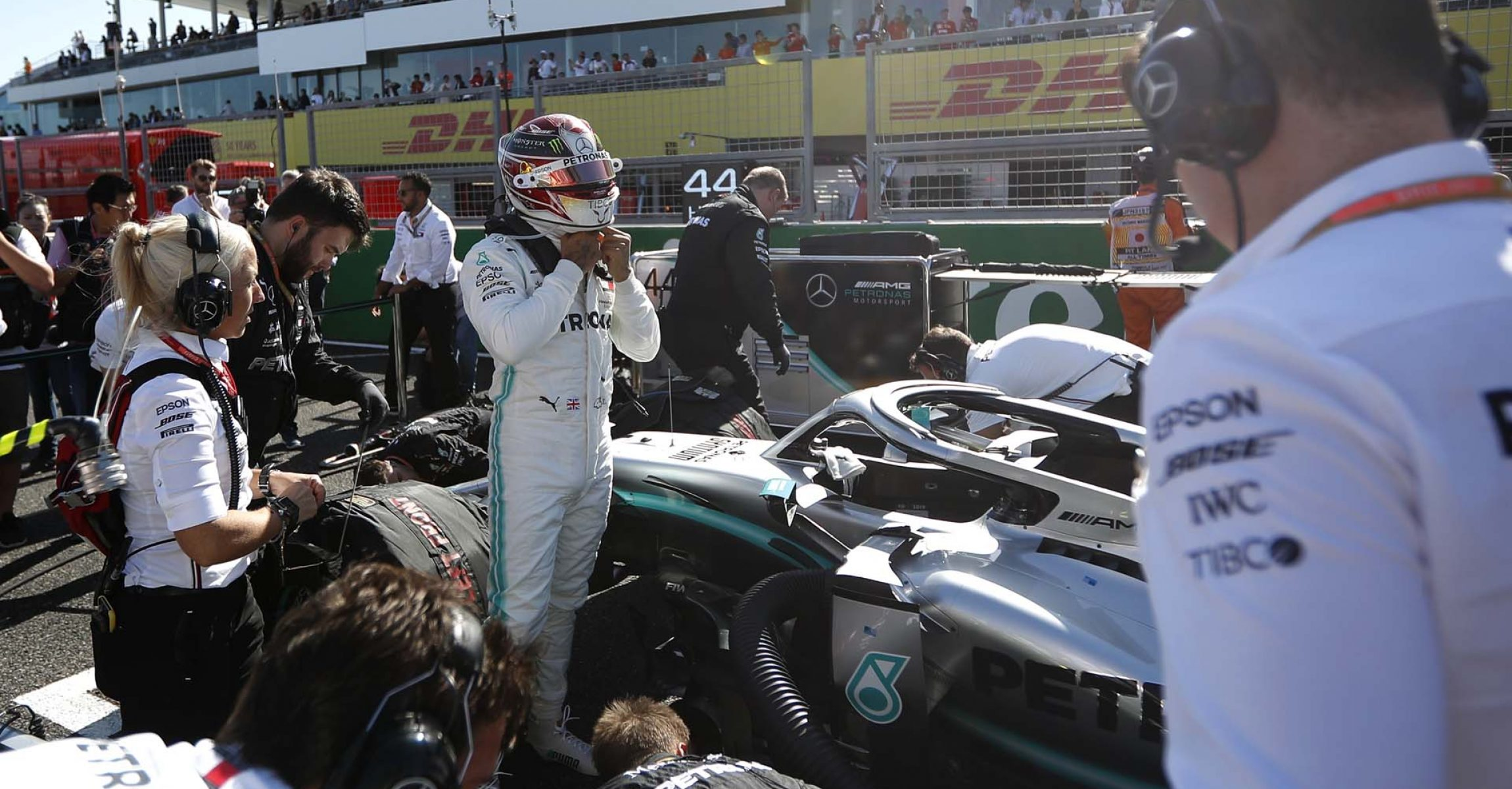 Formula One F1 - Japanese Grand Prix - Suzuka Circuit, Suzuka, Japan - October 13, 2019. Mercedes' Lewis Hamilton on the grid before the race. REUTERS/Kim Hong-Ji