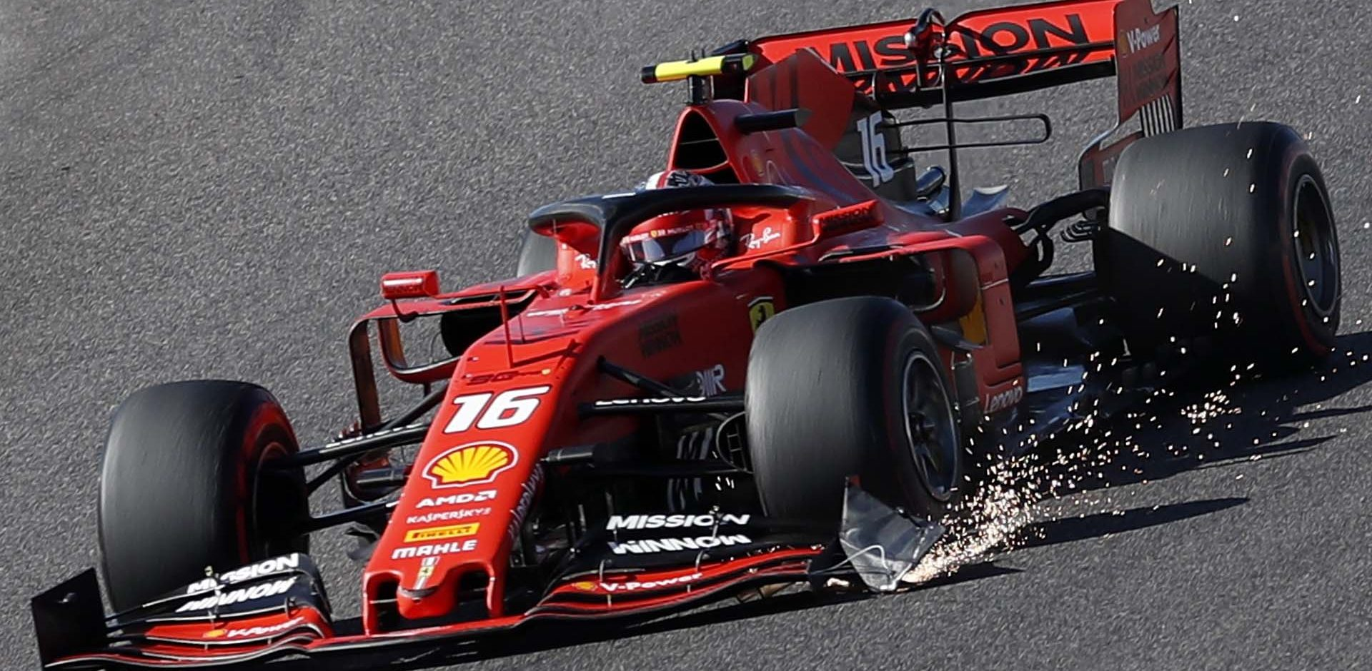 Formula One F1 - Japanese Grand Prix - Suzuka Circuit, Suzuka, Japan - October 13, 2019. Ferrari's Charles Leclerc with a damaged front wing during the race. REUTERS/Issei Kato