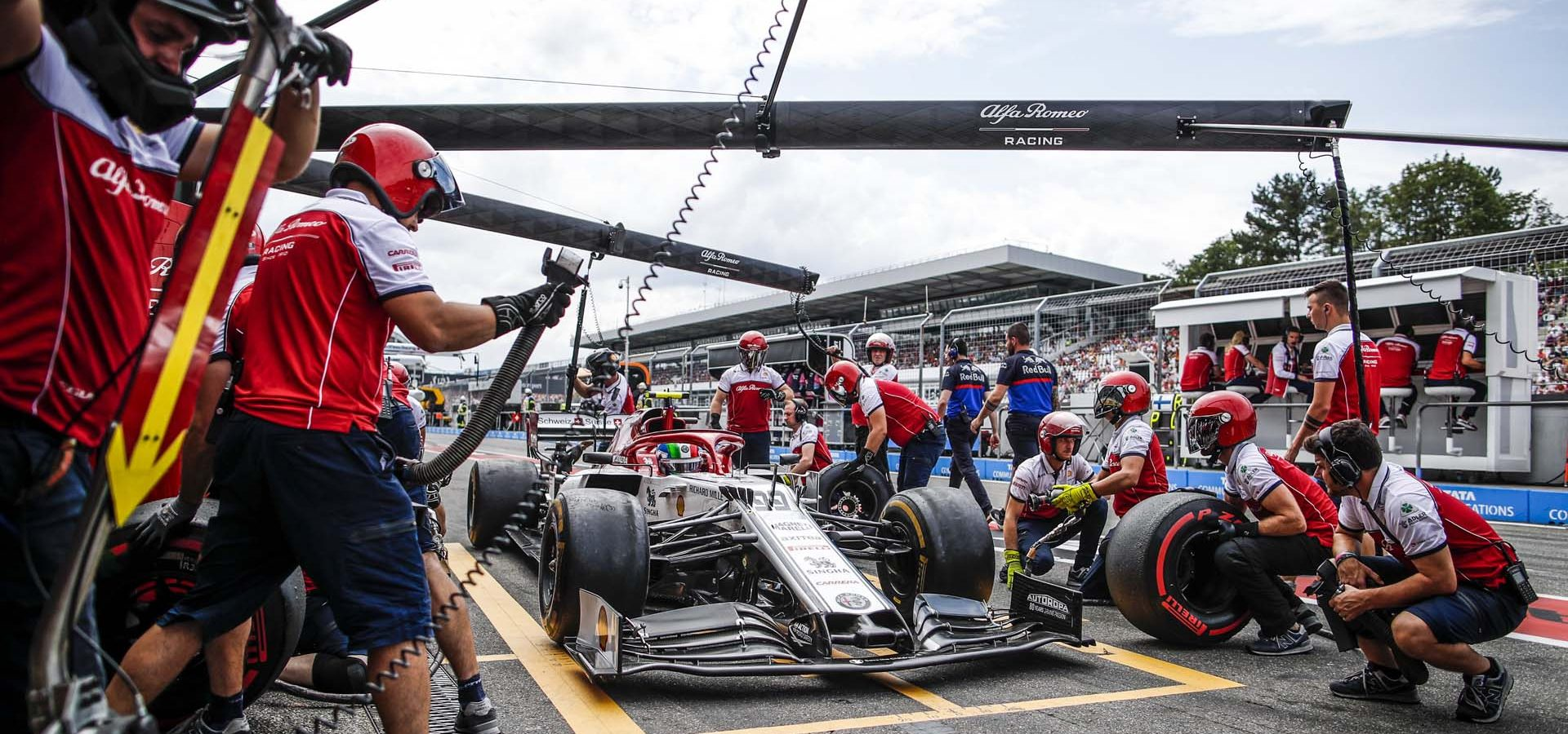 GIOVINAZZI Antonio (ita), Alfa Romeo Racing C38, action pitstop practice, during the 2019 Formula One World Championship, Germany Grand Prix from July 25 to 28, in Hockenheim, Germany - Photo Florent Gooden / DPPI
