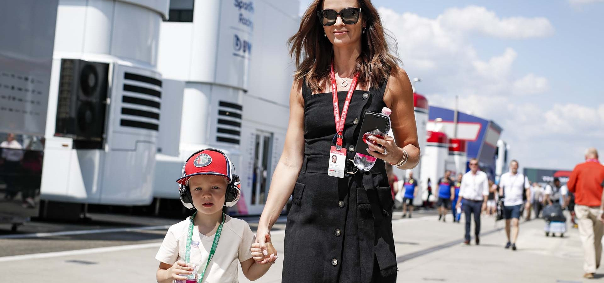 RAIKKONEN Räikkönen Kimi's wife Minttu with their son Robin in the paddock during the 2019 Formula One World Championship, Grand Prix of Hungary from august 1 to 4, Hungaroring, Budapest - Photo Florent Gooden / DPPI