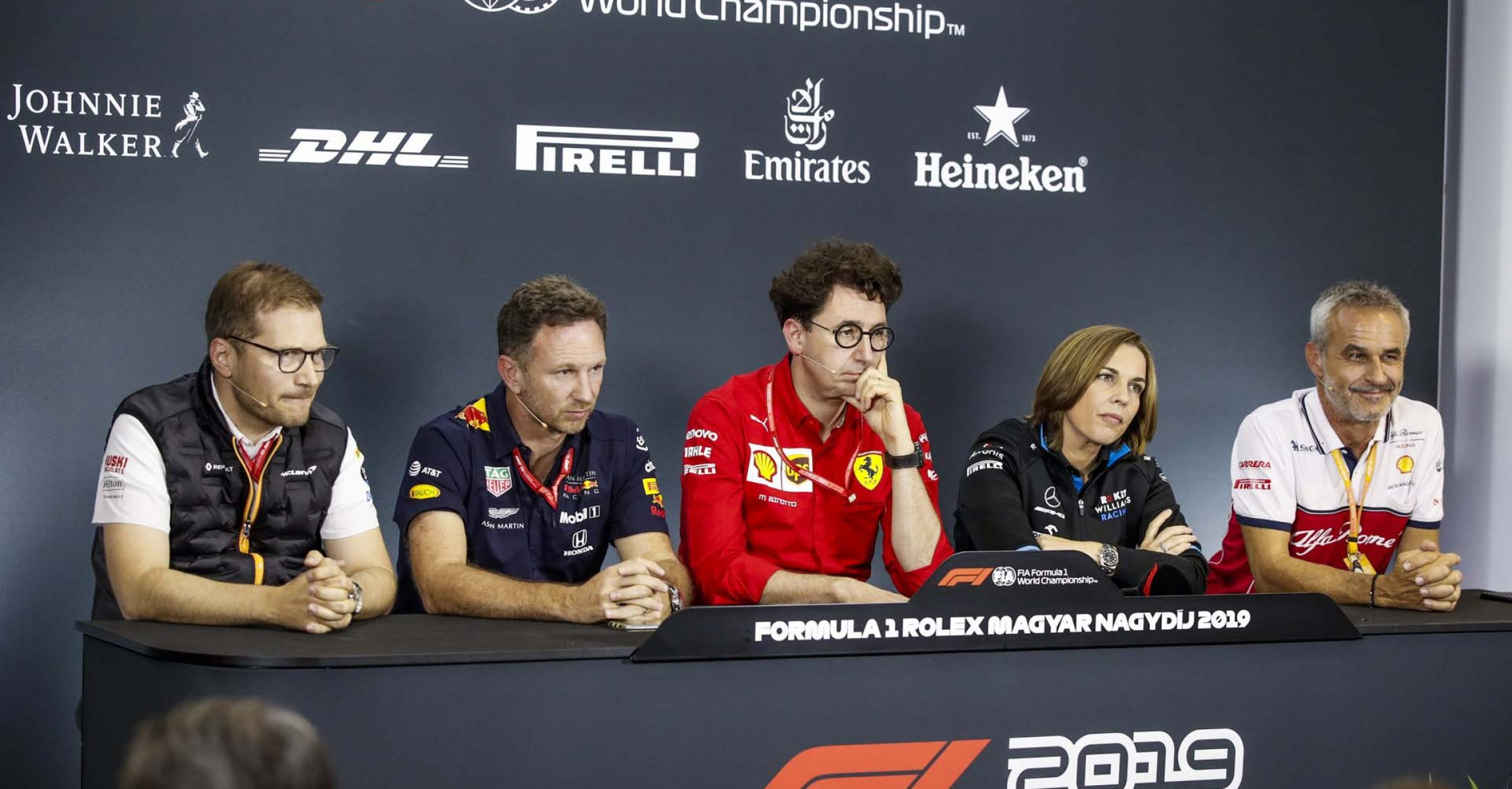 Press conference: SEIDL Andreas, Team Principal of McLaren Racing, HORNER Christian (gbr), Team Principal of Aston Martin Red Bull Racing, BINOTTO Mattia (ita), Team Principal & Technical Director of the Scuderia Ferrari, WILLIAMS Claire (gbr), Deputy Team Principal of Williams F1 Racing, ZEHNDER Beat, Team Manager of Alfa Romeo Racing, portrait during the 2019 Formula One World Championship, Grand Prix of Hungary from august 1 to 4, Hungaroring, Budapest - Photo Florent Gooden / DPPI