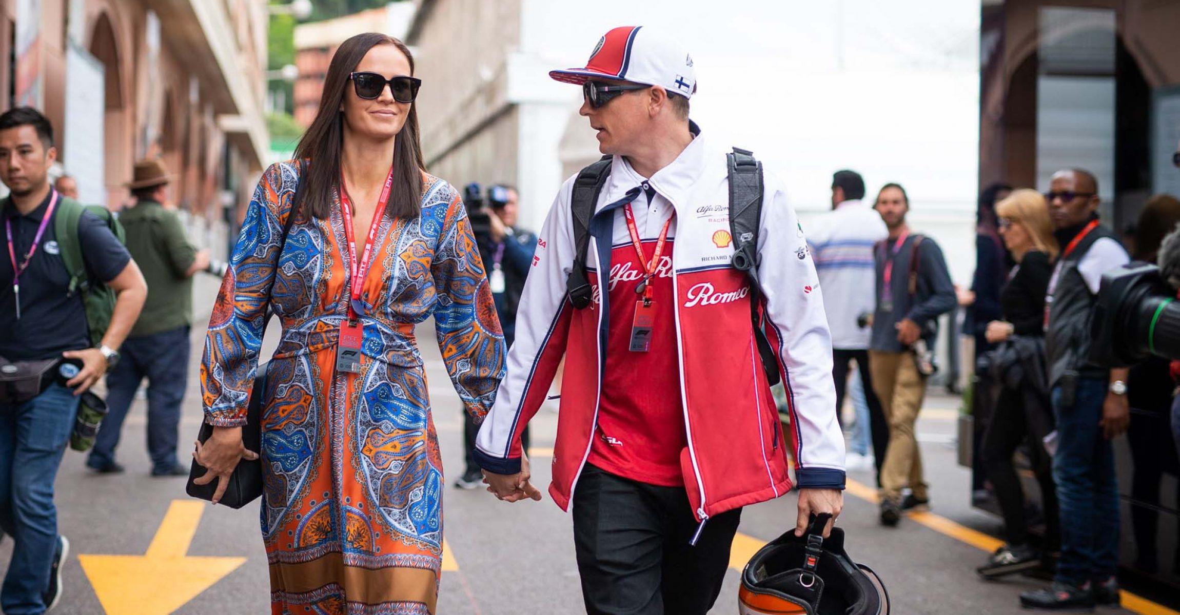 RAIKKONEN Kimi (fin), Alfa Romeo Racing C38, portrait with his wife Minttu during the 2019 Formula One World Championship, Grand Prix of Monaco from on May 23 to 26 in Monaco - Photo Antonin Vincent / DPPI Räikkönen