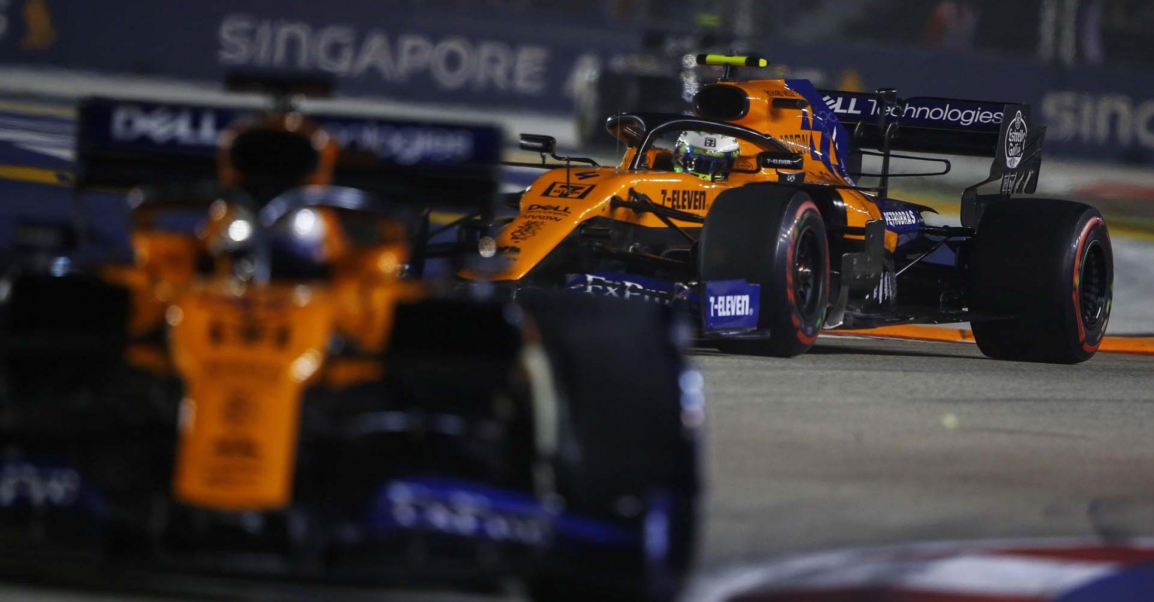 Carlos Sainz, McLaren MCL34 leads Lando Norris, McLaren MCL34