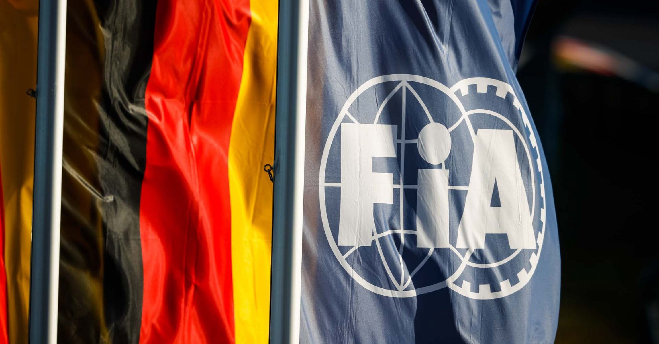illustration FIA logo flag, drapeau during the Formula 1 Aramco Grosser Preis Der Eifel 2020, Eifel Grand Prix, from October 9 to 11, 2020 on the Nürburgring, in Nürburg, Germany - Photo Antonin Vincent / DPPI