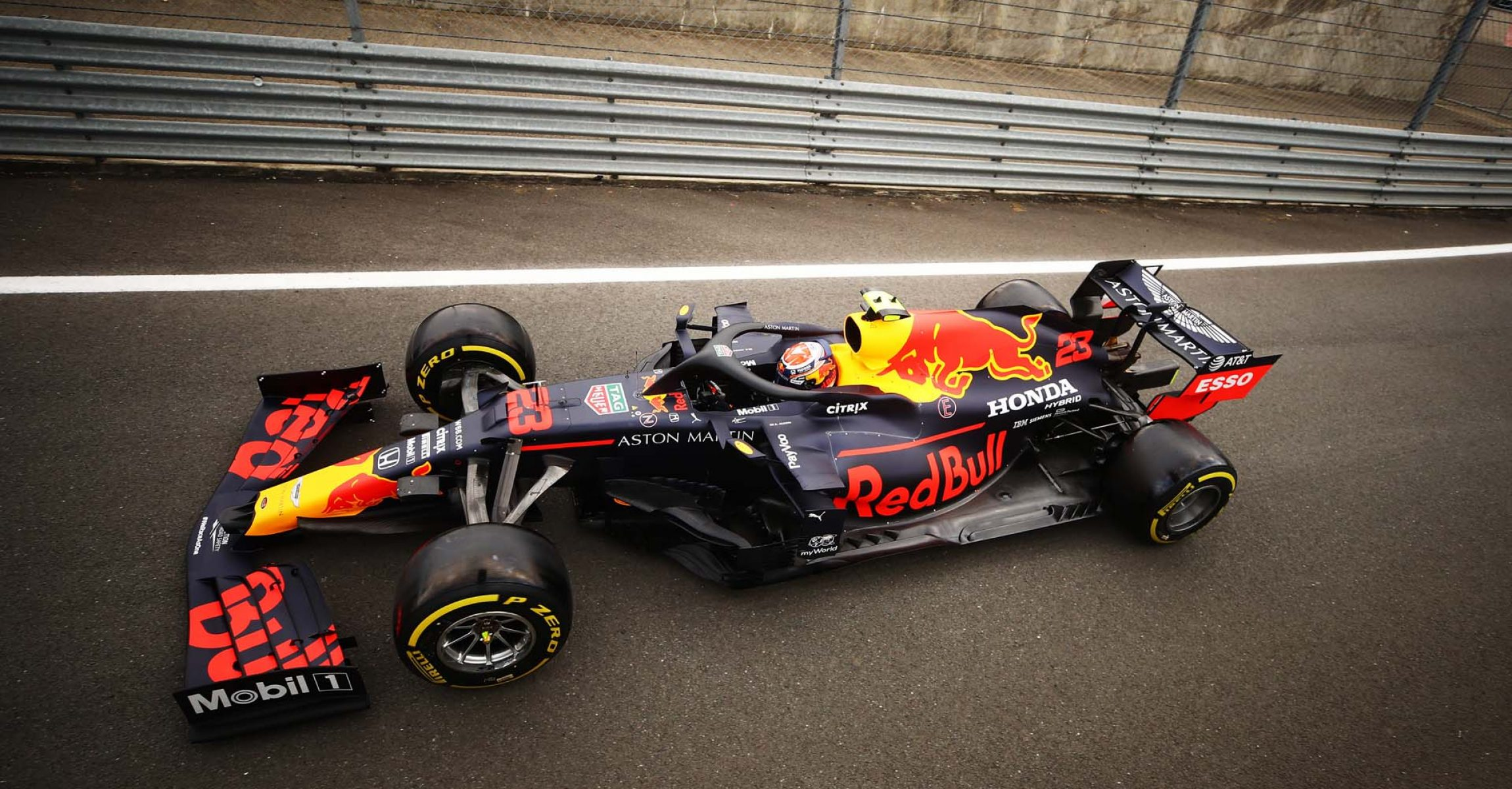 NORTHAMPTON, ENGLAND - AUGUST 07: Alexander Albon driving Aston Martin Red Bull Racing RB16 leaves the pit lane during practice for the F1 70th Anniversary Grand Prix at Silverstone on August 07, 2020 in Northampton, England. (Photo by Bryn Lennon/Getty Images)