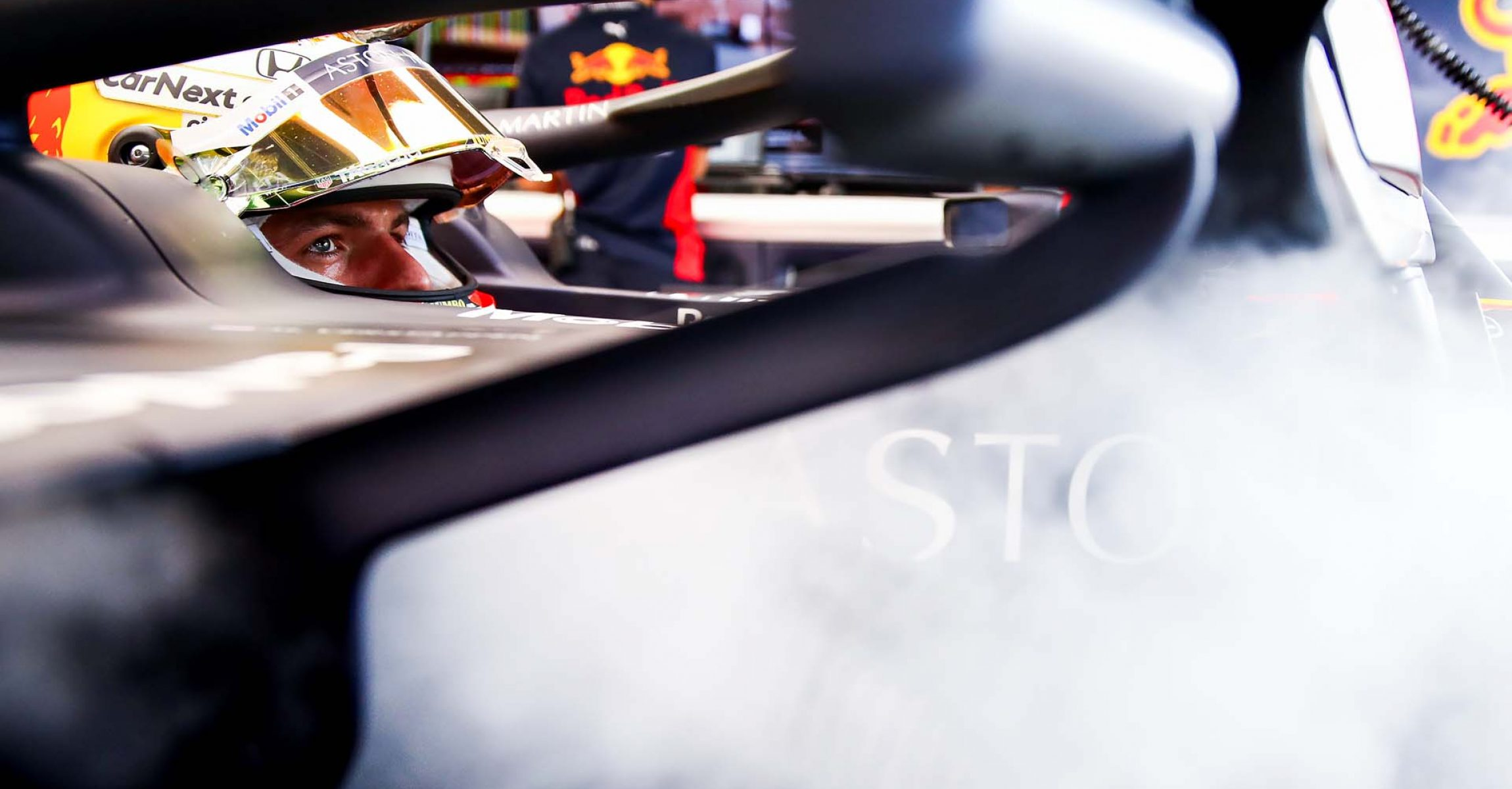 NORTHAMPTON, ENGLAND - AUGUST 08: Max Verstappen of Netherlands and Red Bull Racing prepares to drive in the garage during qualifying for the F1 70th Anniversary Grand Prix at Silverstone on August 08, 2020 in Northampton, England. (Photo by Mark Thompson/Getty Images)