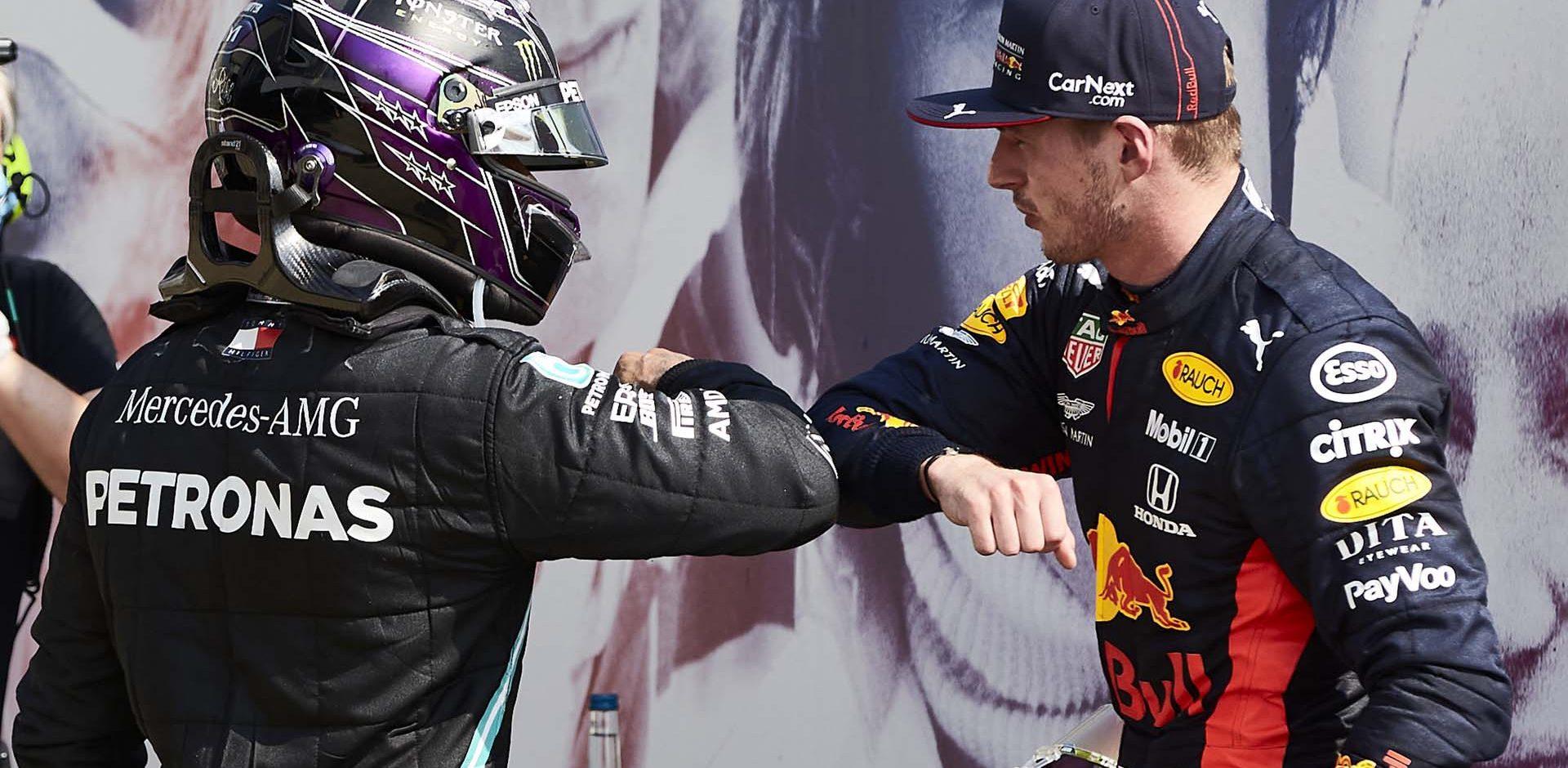 2020 70th Anniversary Grand Prix, Sunday - Steve Etherington Lewis Hamilton Max Verstappen Mercede Red Bull