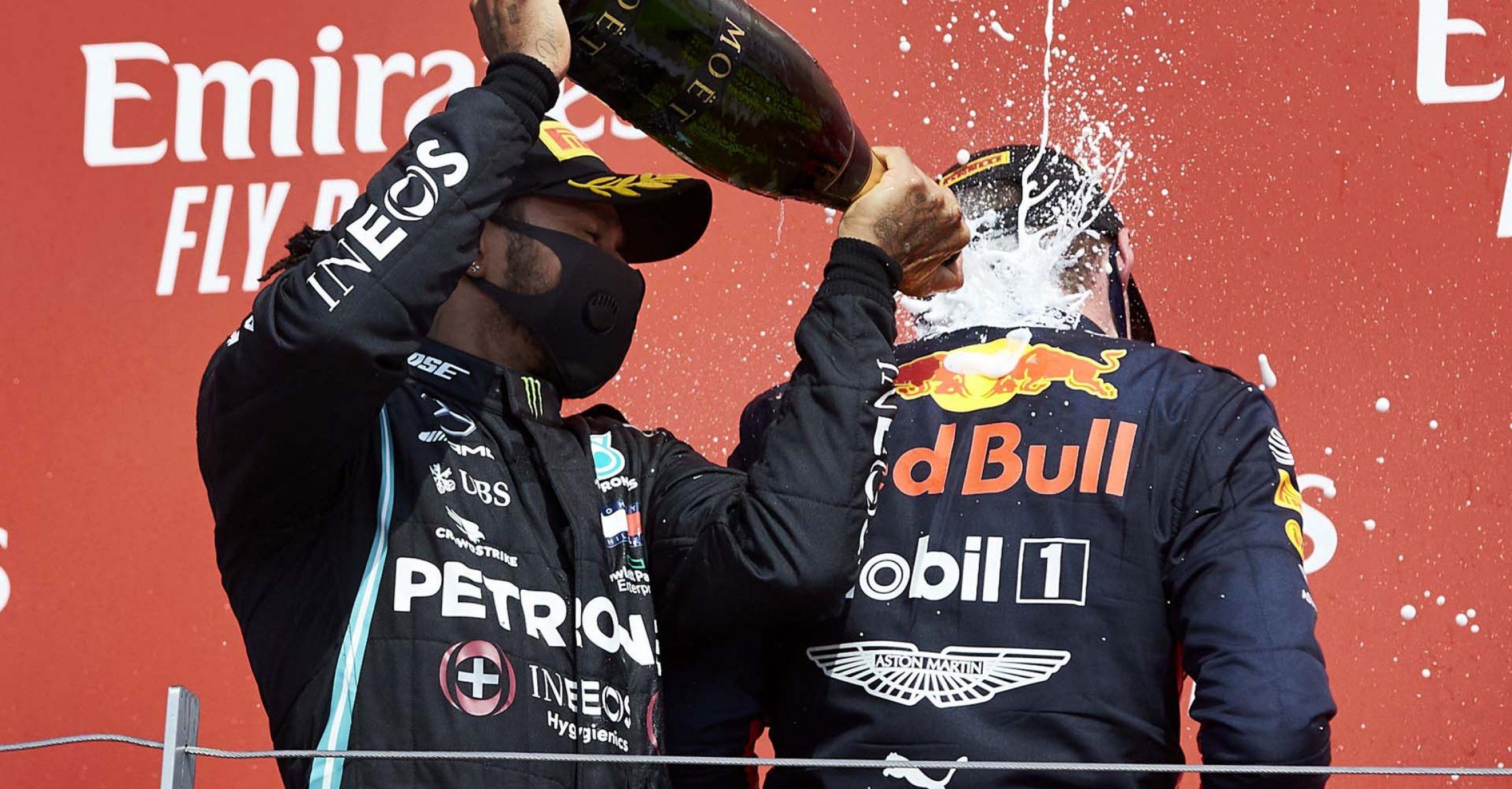 2020 70th Anniversary Grand Prix, Sunday - Steve Etherington Lewis Hamilton Mercedes Max Verstappen Red Bull