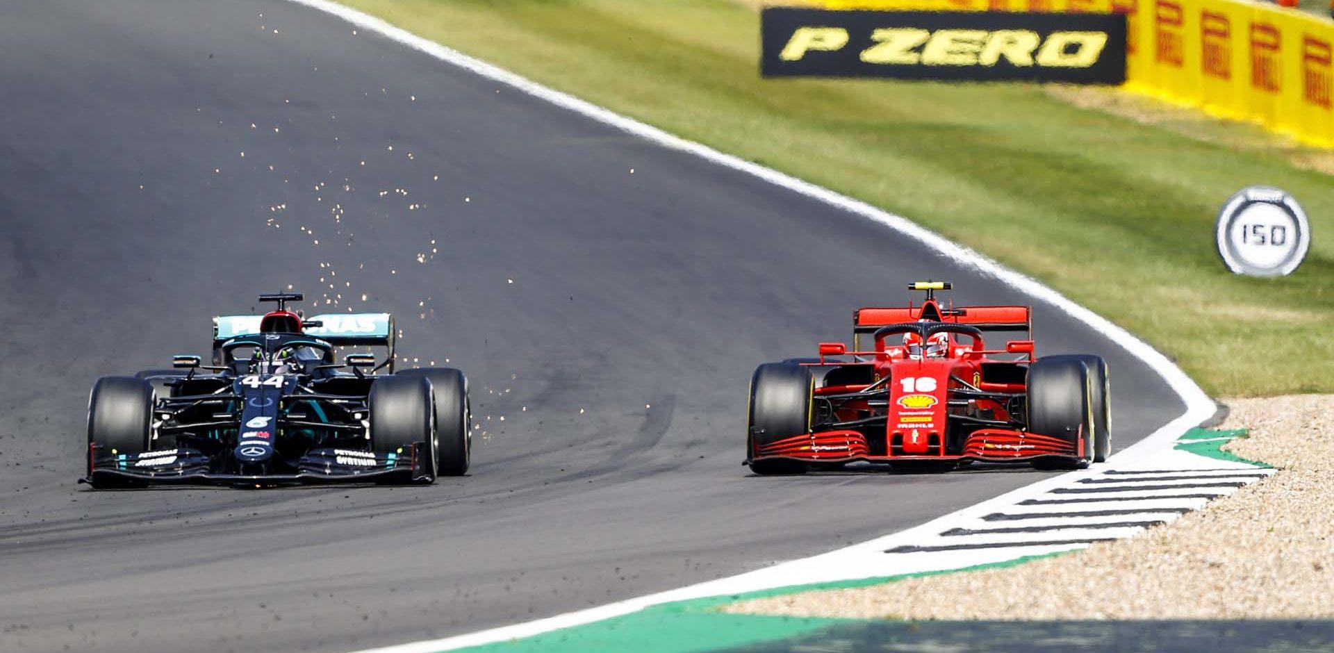 2020 70th Anniversary Grand Prix, Sunday - LAT Images Lewis Hamilton Mercedes Charles Leclerc Ferrari overtake