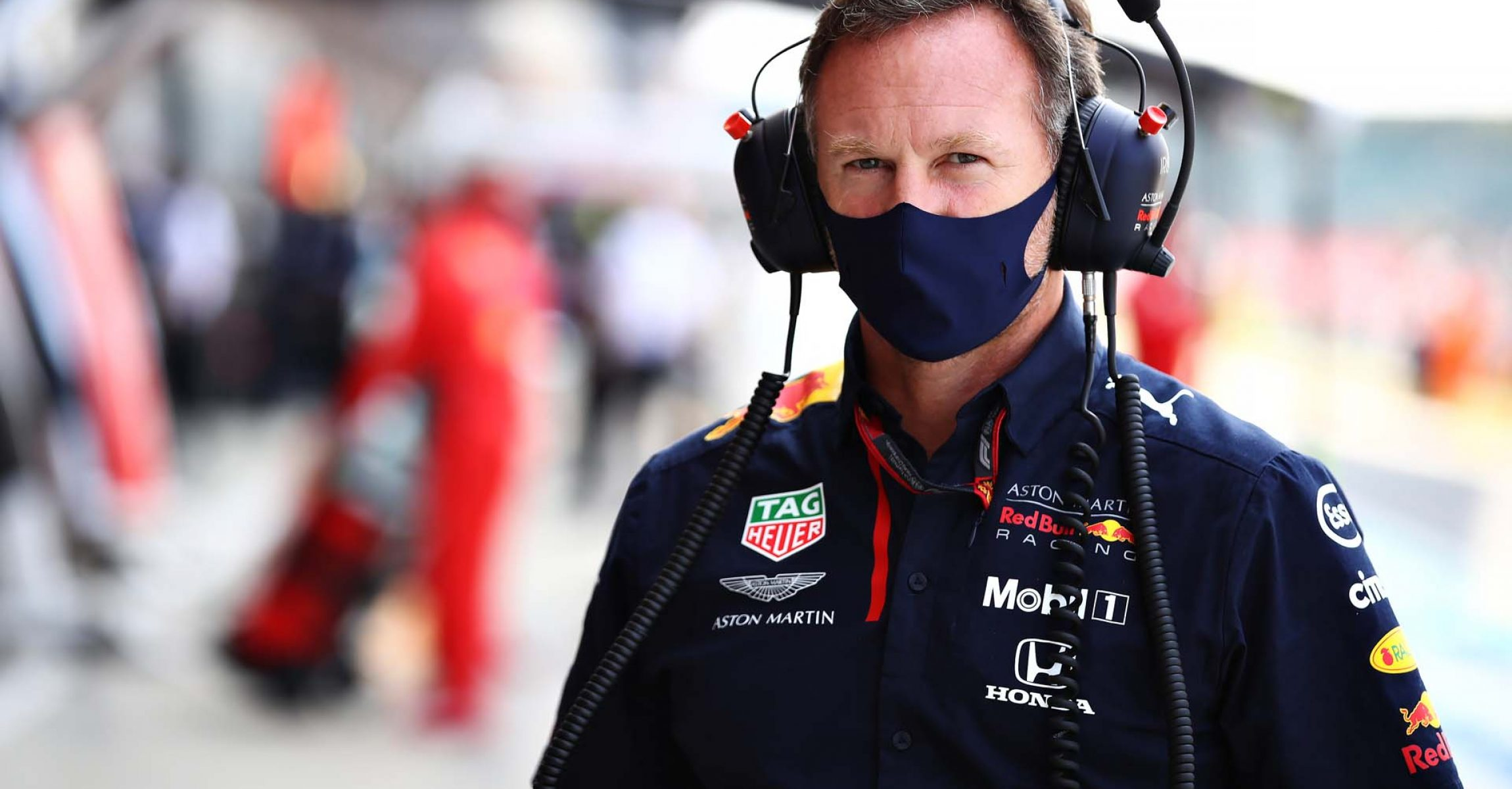 NORTHAMPTON, ENGLAND - AUGUST 09: Red Bull Racing Team Principal Christian Horner looks on in the Pitlane before the F1 70th Anniversary Grand Prix at Silverstone on August 09, 2020 in Northampton, England. (Photo by Mark Thompson/Getty Images)