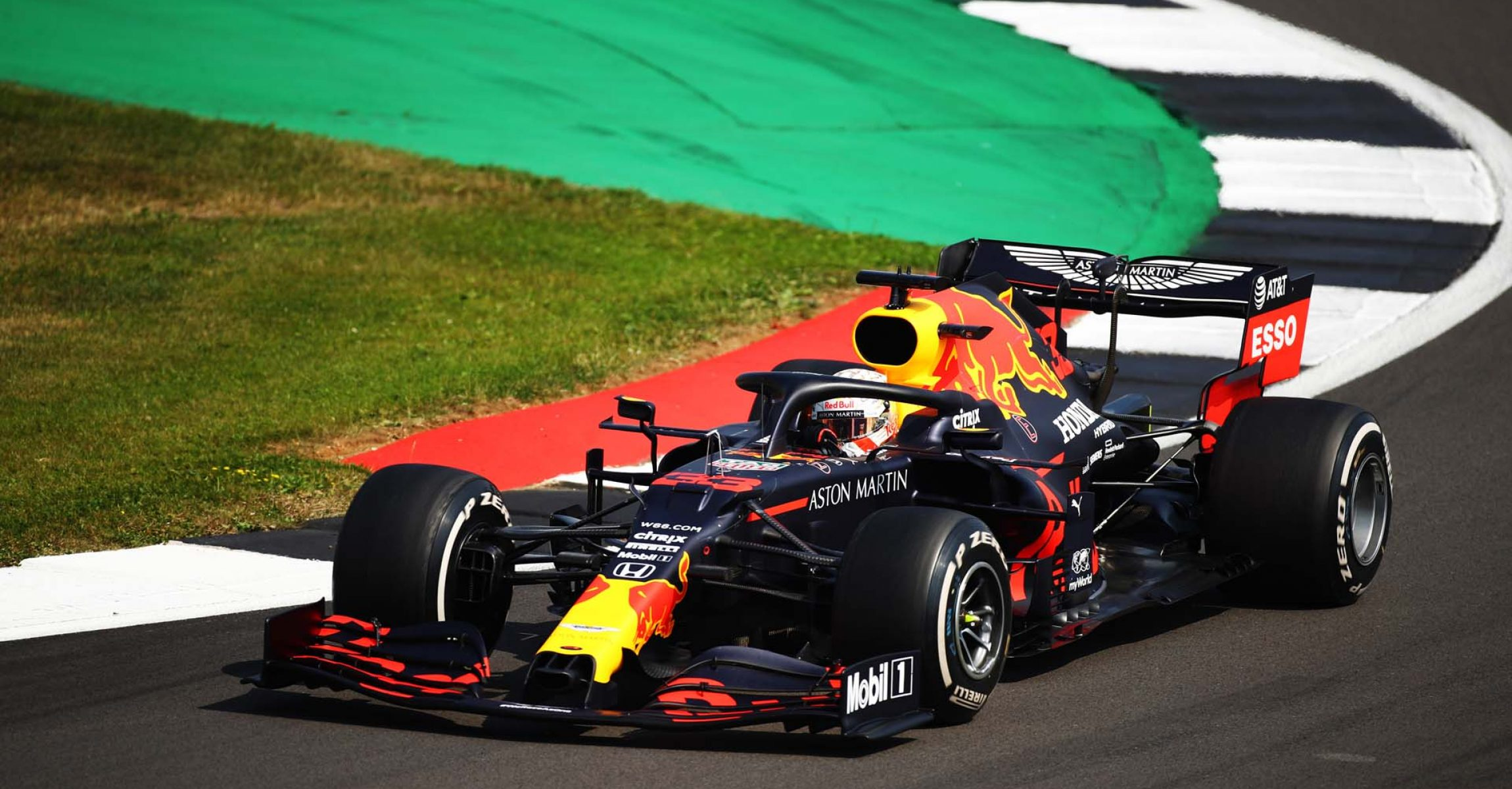 NORTHAMPTON, ENGLAND - AUGUST 09: Max Verstappen of the Netherlands driving the (33) Aston Martin Red Bull Racing RB16 on track during the F1 70th Anniversary Grand Prix at Silverstone on August 09, 2020 in Northampton, England. (Photo by Bryn Lennon/Getty Images)