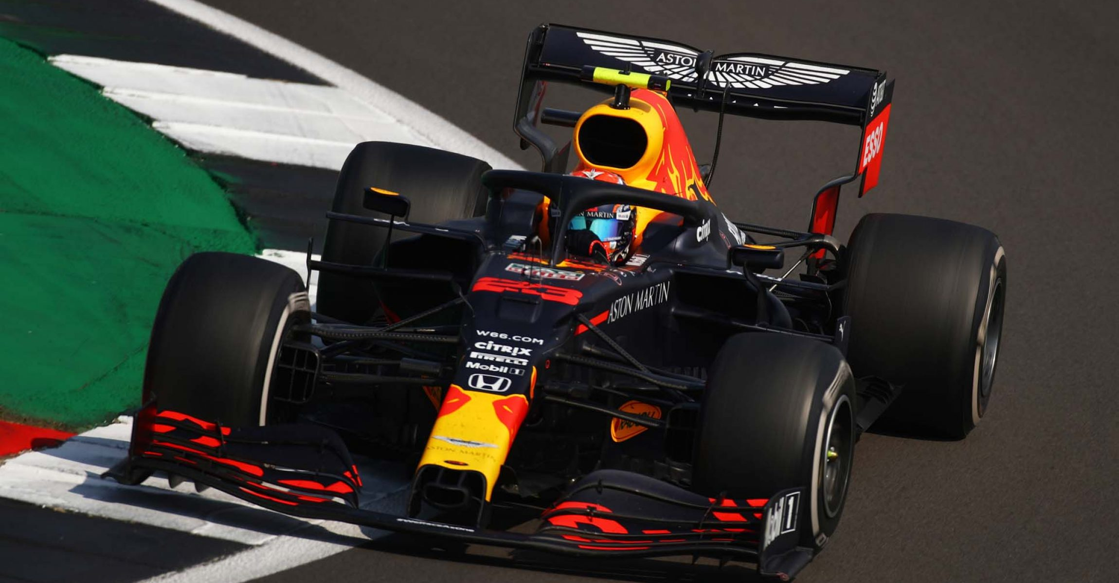 NORTHAMPTON, ENGLAND - AUGUST 09: Alexander Albon of Thailand driving the (23) Aston Martin Red Bull Racing RB16 on track during the F1 70th Anniversary Grand Prix at Silverstone on August 09, 2020 in Northampton, England. (Photo by Bryn Lennon/Getty Images)