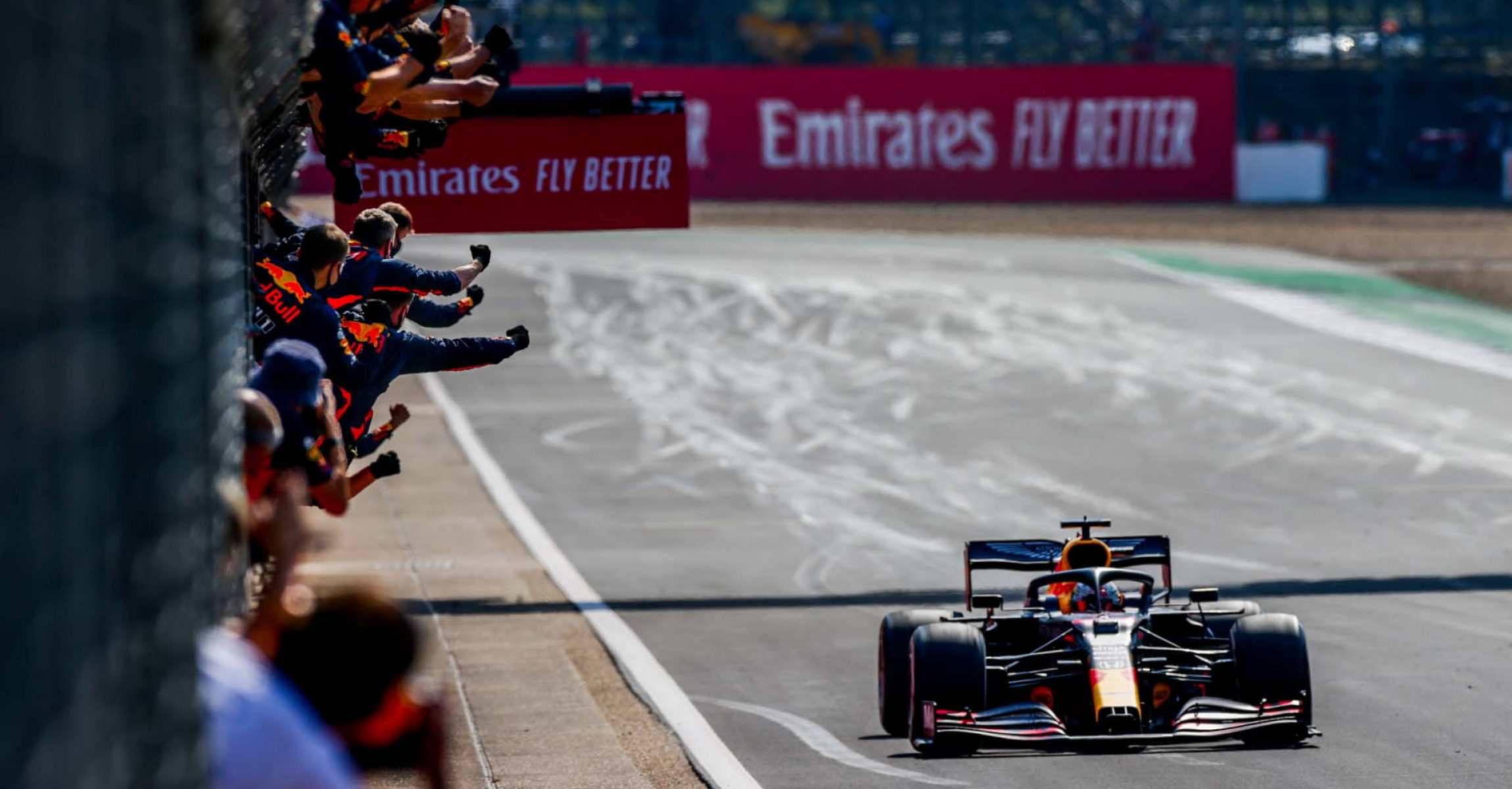 NORTHAMPTON, ENGLAND - AUGUST 09: Max Verstappen of Red Bull Racing and The Netherlands wins the F1 70th Anniversary Grand Prix at Silverstone on August 09, 2020 in Northampton, England. (Photo by Peter Fox/Getty Images)