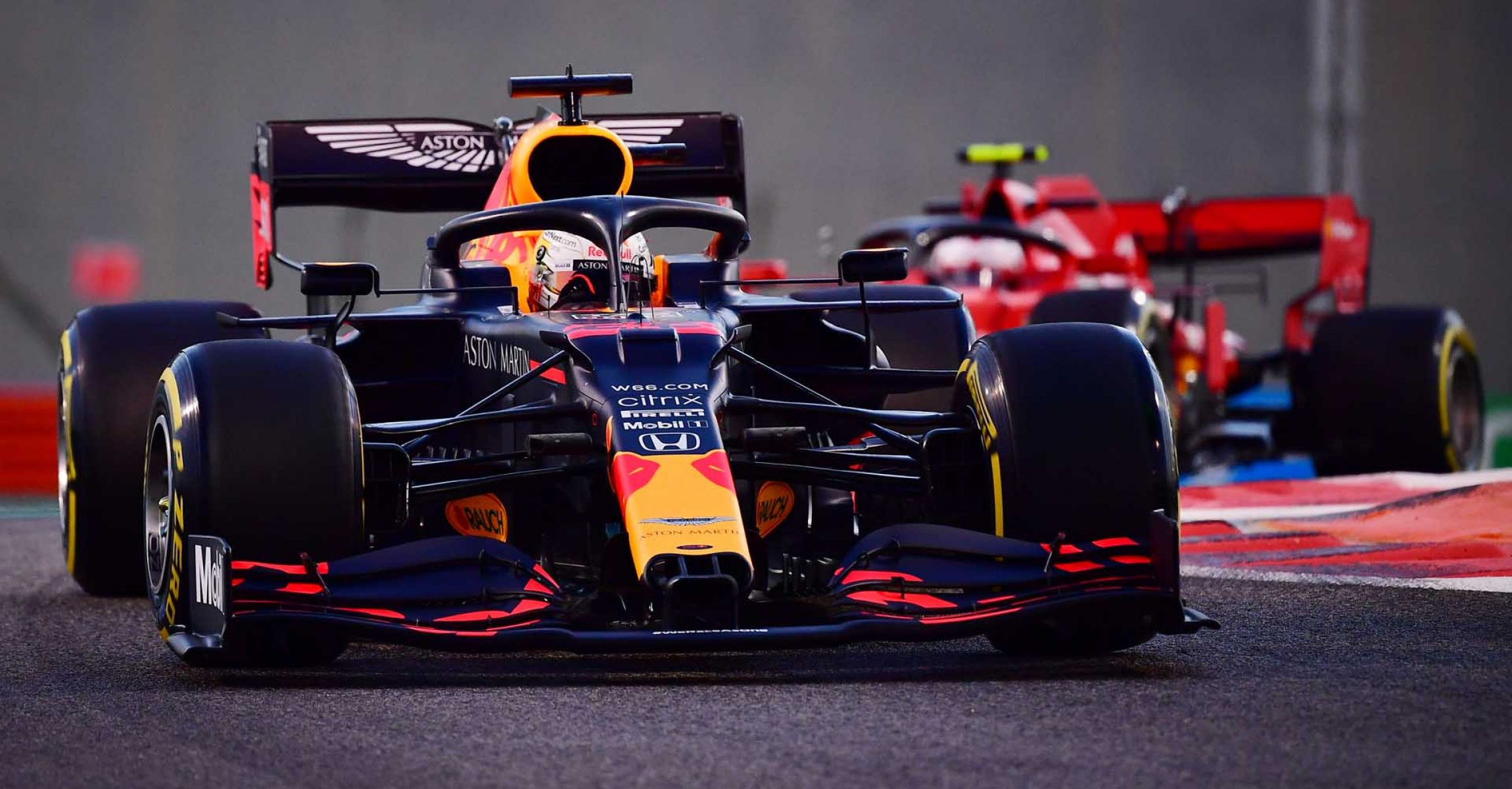 ABU DHABI, UNITED ARAB EMIRATES - DECEMBER 11: Max Verstappen of the Netherlands driving the (33) Aston Martin Red Bull Racing RB16 on track during practice ahead of the F1 Grand Prix of Abu Dhabi at Yas Marina Circuit on December 11, 2020 in Abu Dhabi, United Arab Emirates. (Photo by Giuseppe Cacace - Pool/Getty Images)