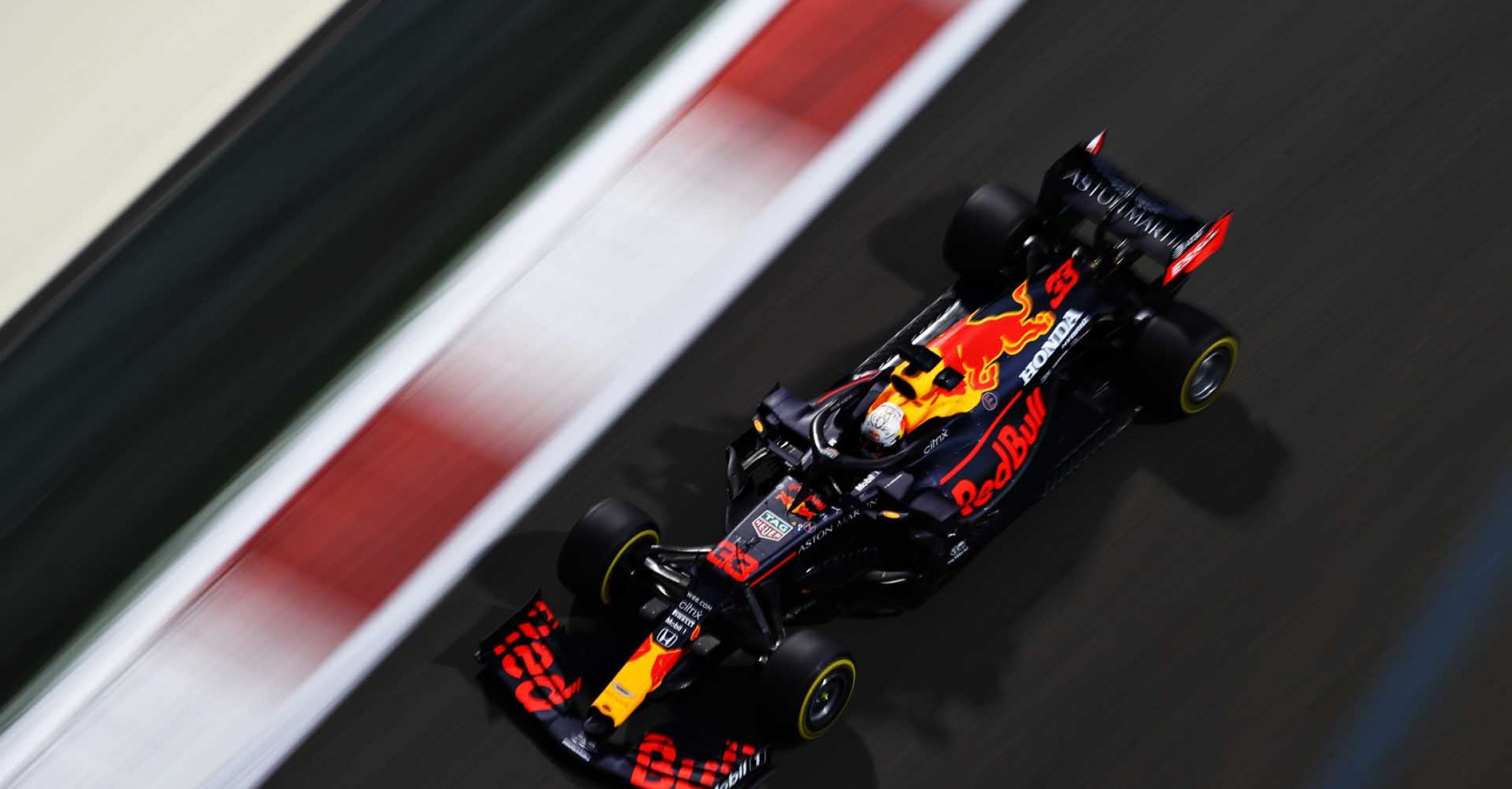 ABU DHABI, UNITED ARAB EMIRATES - DECEMBER 11: Max Verstappen of the Netherlands driving the (33) Aston Martin Red Bull Racing RB16 during practice ahead of the F1 Grand Prix of Abu Dhabi at Yas Marina Circuit on December 11, 2020 in Abu Dhabi, United Arab Emirates. (Photo by Mark Thompson/Getty Images)