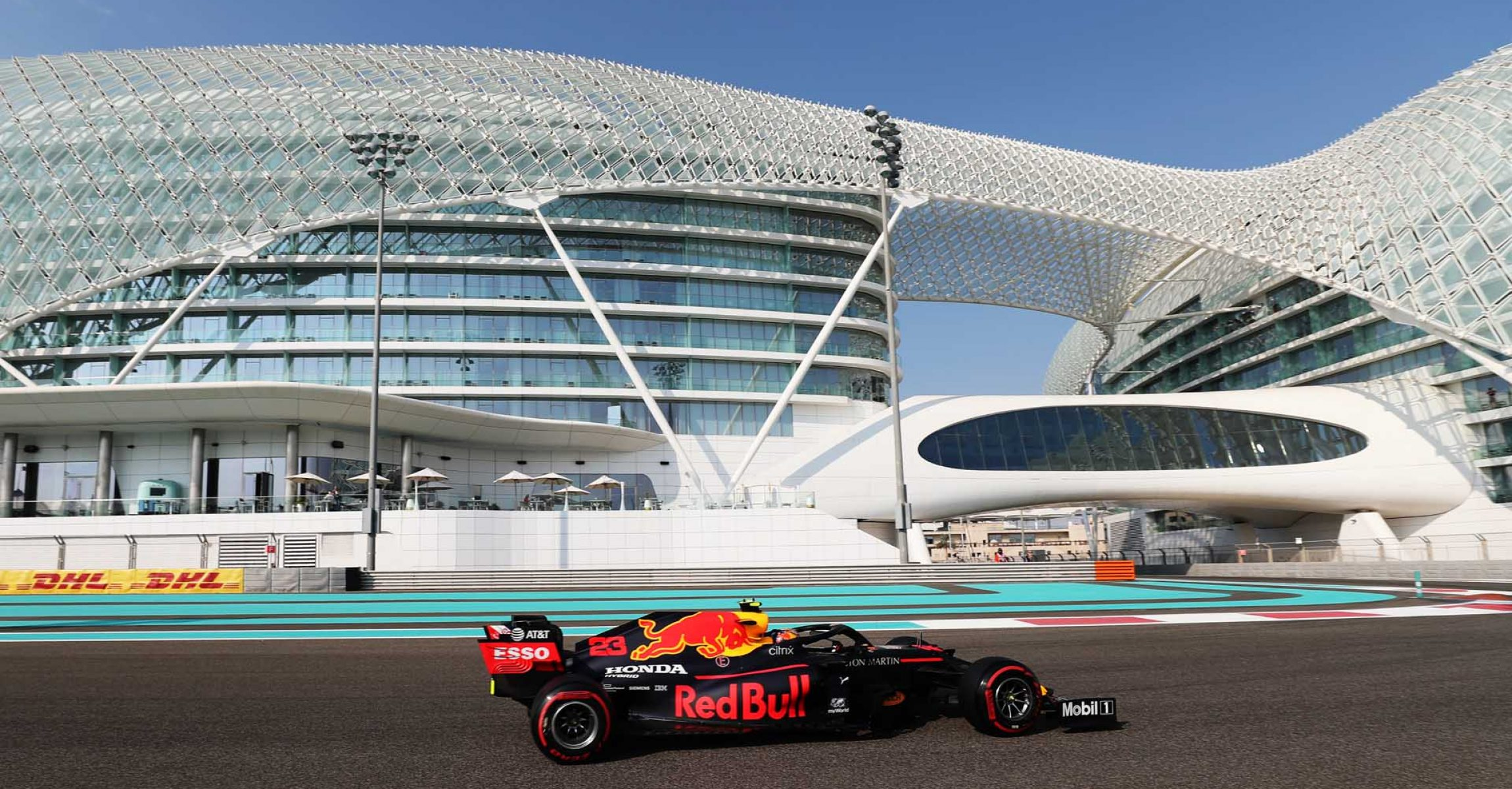 ABU DHABI, UNITED ARAB EMIRATES - DECEMBER 12: Alexander Albon of Thailand driving the (23) Aston Martin Red Bull Racing RB16 on track during final practice ahead of the F1 Grand Prix of Abu Dhabi at Yas Marina Circuit on December 12, 2020 in Abu Dhabi, United Arab Emirates. (Photo by Kamran Jebreili - Pool/Getty Images)