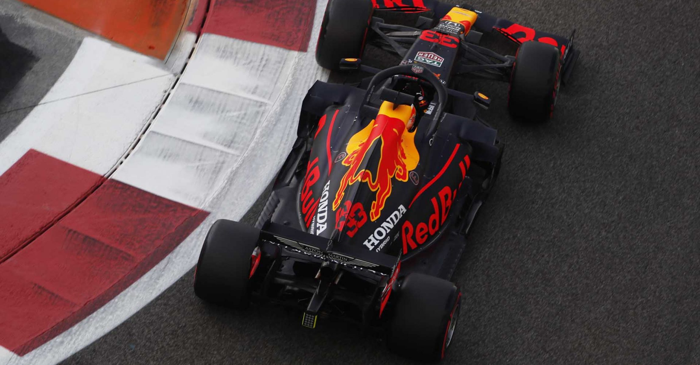 ABU DHABI, UNITED ARAB EMIRATES - DECEMBER 12: Max Verstappen of the Netherlands driving the (33) Aston Martin Red Bull Racing RB16 on track during final practice ahead of the F1 Grand Prix of Abu Dhabi at Yas Marina Circuit on December 12, 2020 in Abu Dhabi, United Arab Emirates. (Photo by Hamad I Mohammed - Pool/Getty Images)