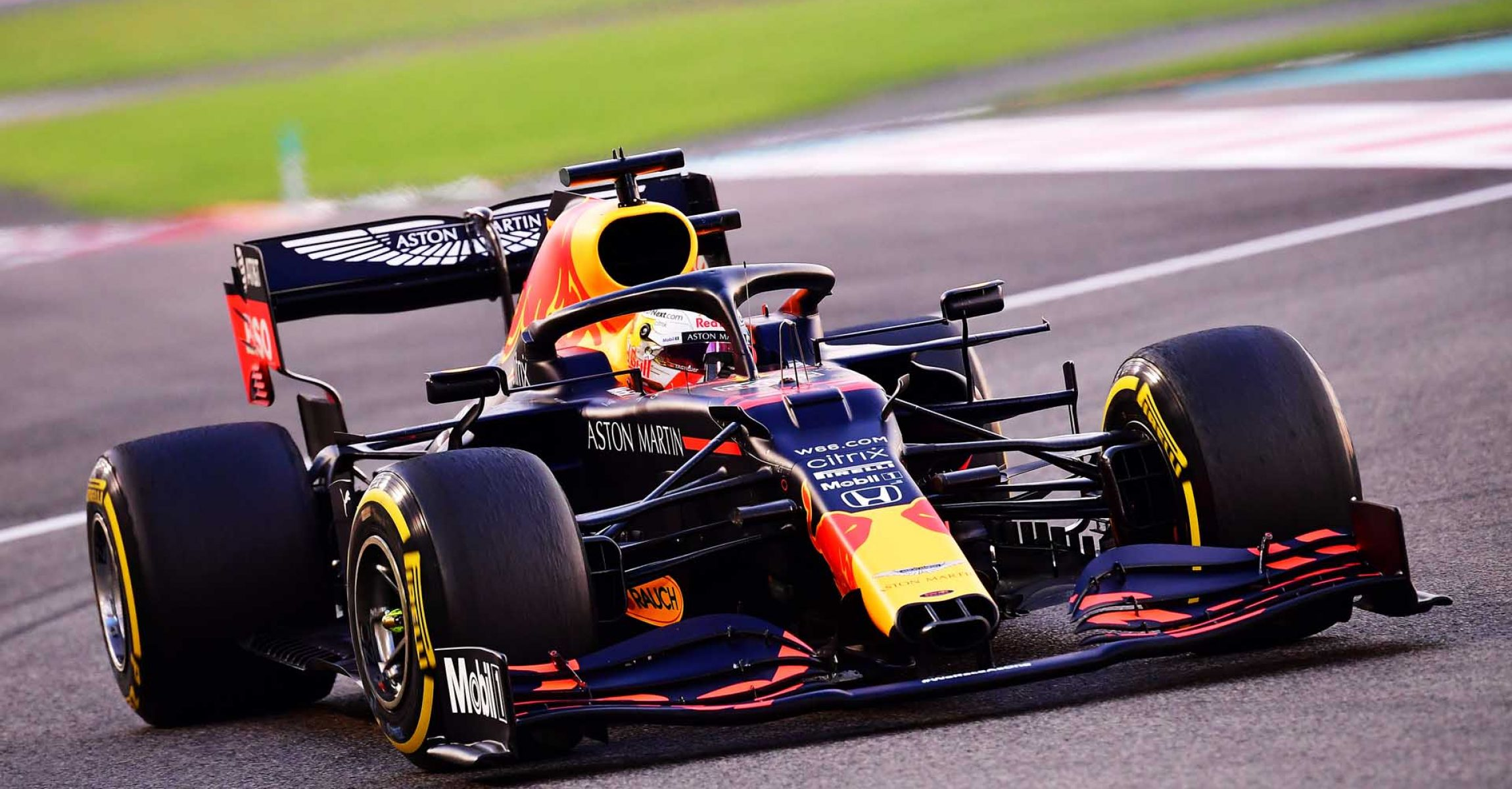 ABU DHABI, UNITED ARAB EMIRATES - DECEMBER 13: Max Verstappen of the Netherlands driving the (33) Aston Martin Red Bull Racing RB16 during the F1 Grand Prix of Abu Dhabi at Yas Marina Circuit on December 13, 2020 in Abu Dhabi, United Arab Emirates. (Photo by Giuseppe Cacace - Pool/Getty Images)