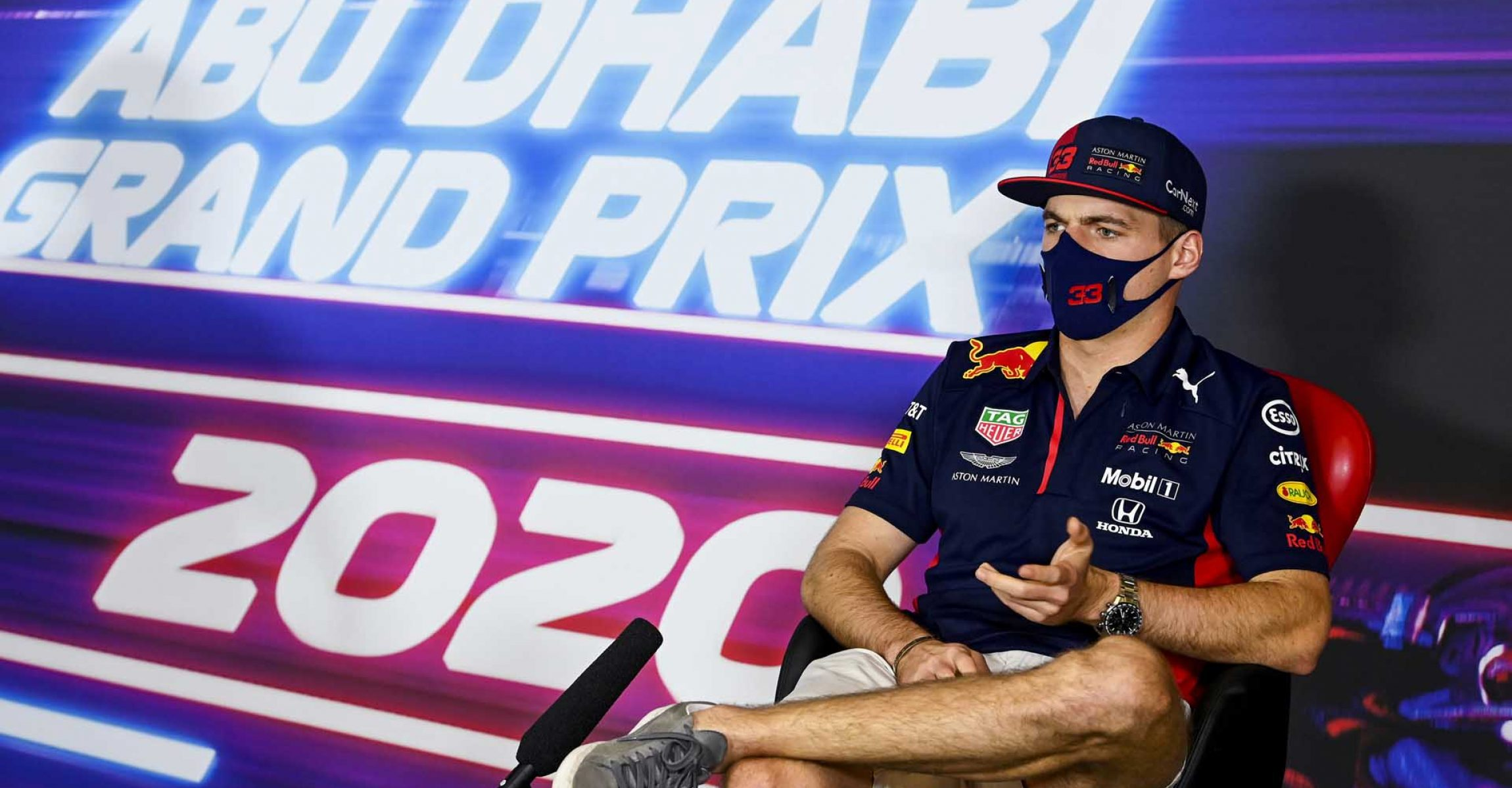 ABU DHABI, UNITED ARAB EMIRATES - DECEMBER 10: Max Verstappen of Netherlands and Red Bull Racing talks in the Drivers Press Conference during previews ahead of the F1 Grand Prix of Abu Dhabi at Yas Marina Circuit on December 10, 2020 in Abu Dhabi, United Arab Emirates. (Photo by Mark Sutton - Pool/Getty Images)