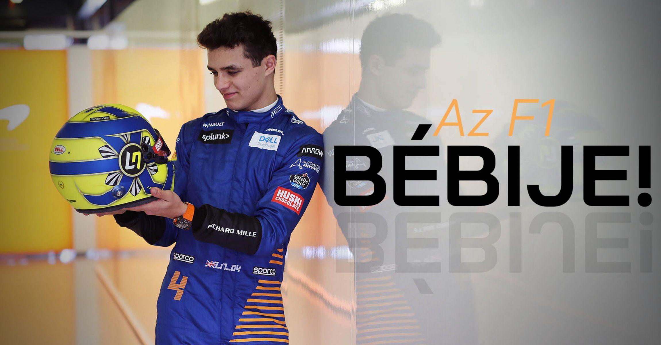 Lando Norris, McLaren, admires his crash helmet, Az F1 bébije
