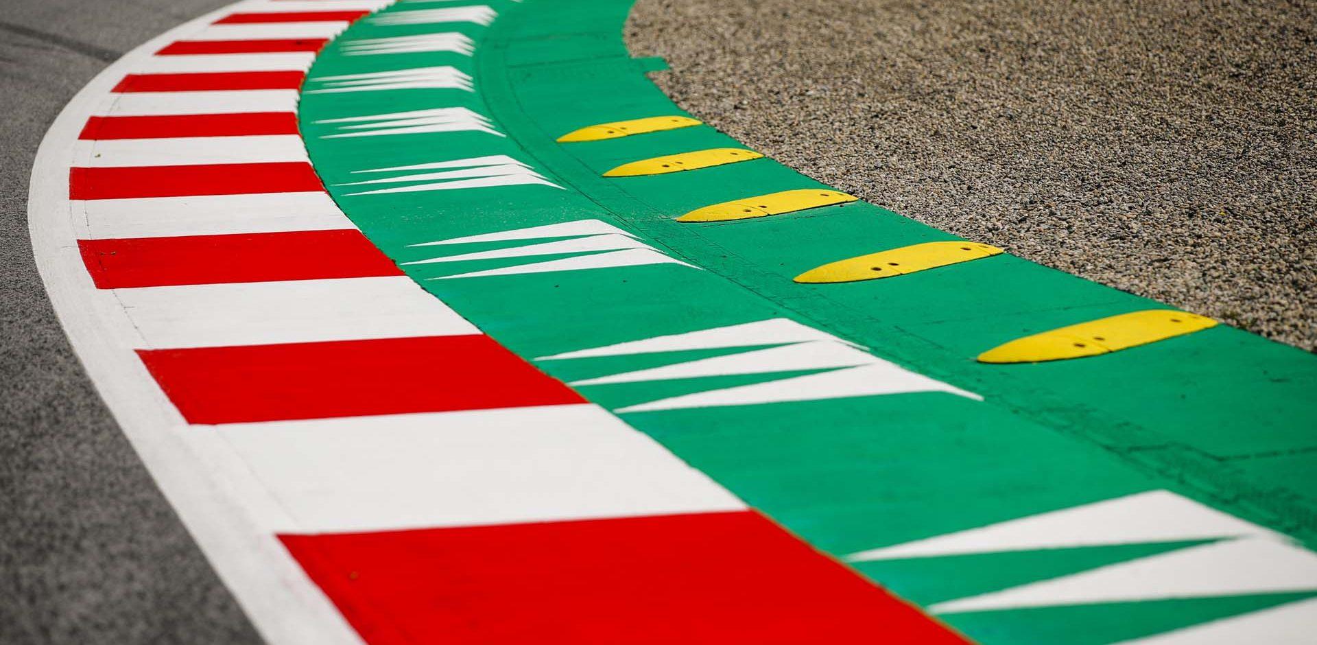 Track kerb details during the Formula 1 Rolex Grosser Preis von Osterreich 2020, Austrian Grand Prix from July 02 to 05, 2020 on the Red Bull Ring, in Spielberg, Austria - Photo Florent Gooden / DPPI