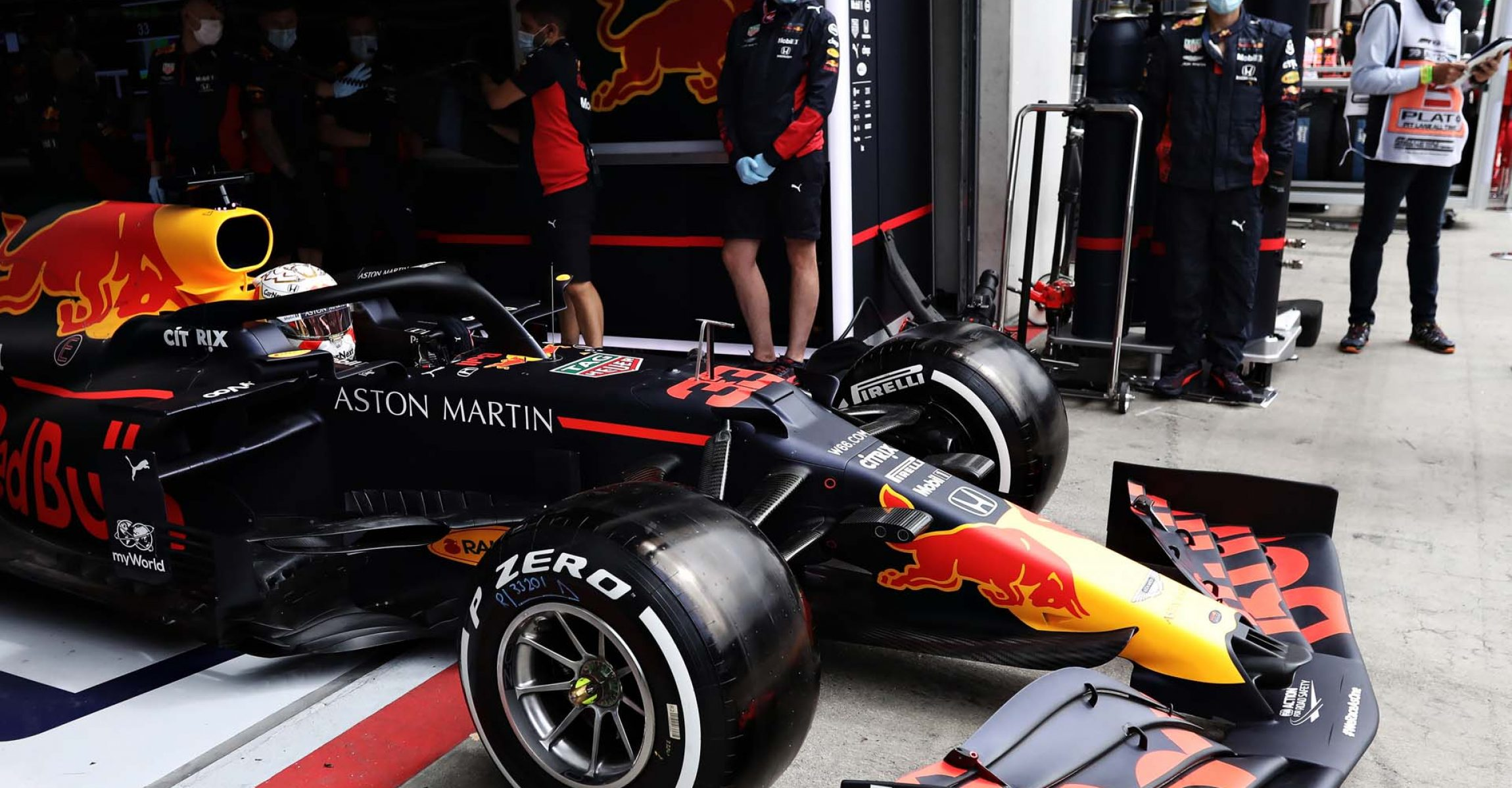 SPIELBERG, AUSTRIA - JULY 03: Max Verstappen of the Netherlands driving the (33) Aston Martin Red Bull Racing RB16 leaves the garage during practice for the F1 Grand Prix of Austria at Red Bull Ring on July 03, 2020 in Spielberg, Austria. (Photo by Getty Images/Getty Images) // Getty Images / Red Bull Content Pool // AP-24GZB86MD2111 // Usage for editorial use only //