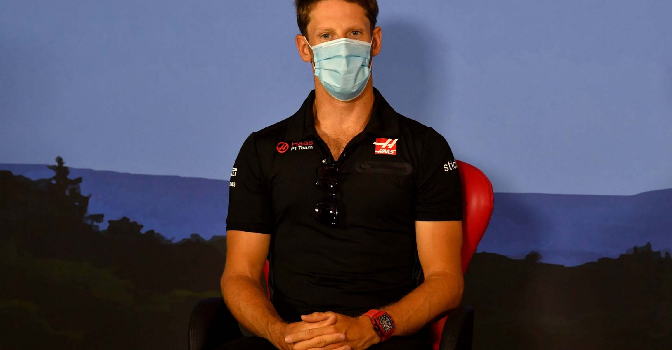 JULY 02: Romain Grosjean, Haas during the drivers press conference during the Austrian GP on Thursday July 02, 2020. (Photo by Mark Sutton / LAT Images)