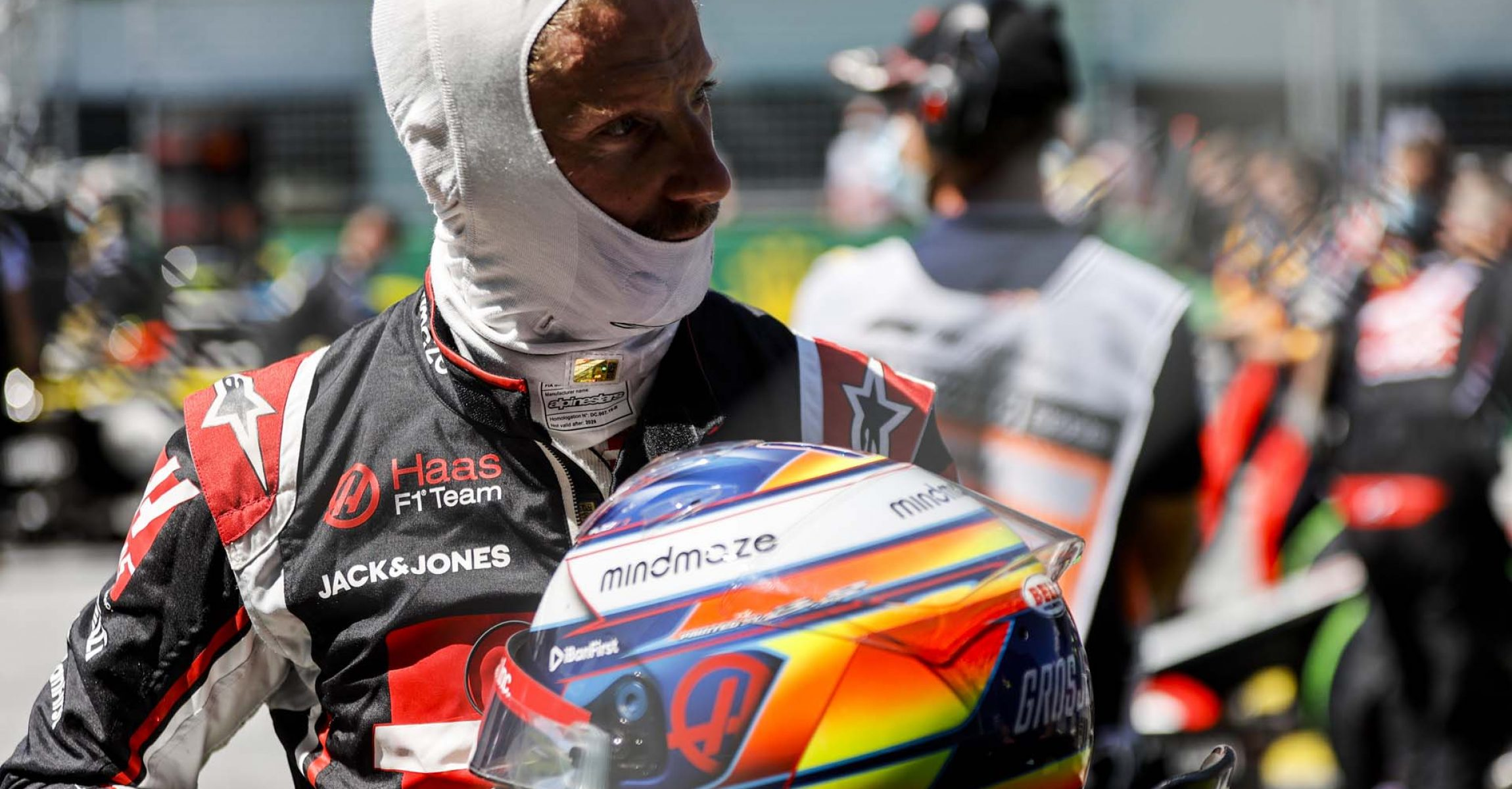 JULY 05: Romain Grosjean, Haas F1, on the grid during the Austrian GP on Sunday July 05, 2020. (Photo by Andy Hone / LAT Images)