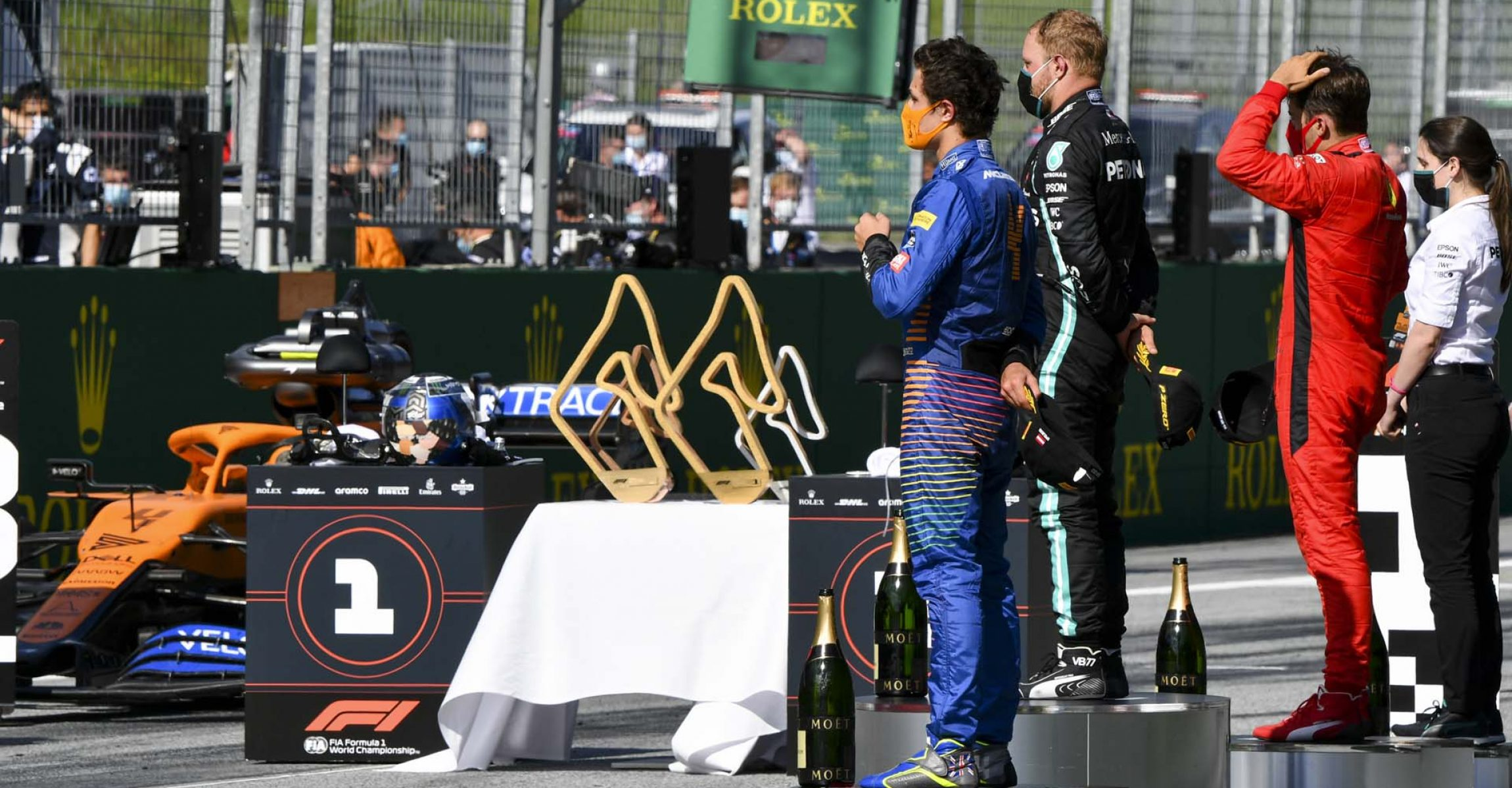JULY 05: Lando Norris, McLaren, Valtteri Bottas, Mercedes-AMG Petronas F1 and Charles Leclerc, Ferrari on the podium during the Austrian GP on Sunday July 05, 2020. (Photo by Mark Sutton / LAT Images)