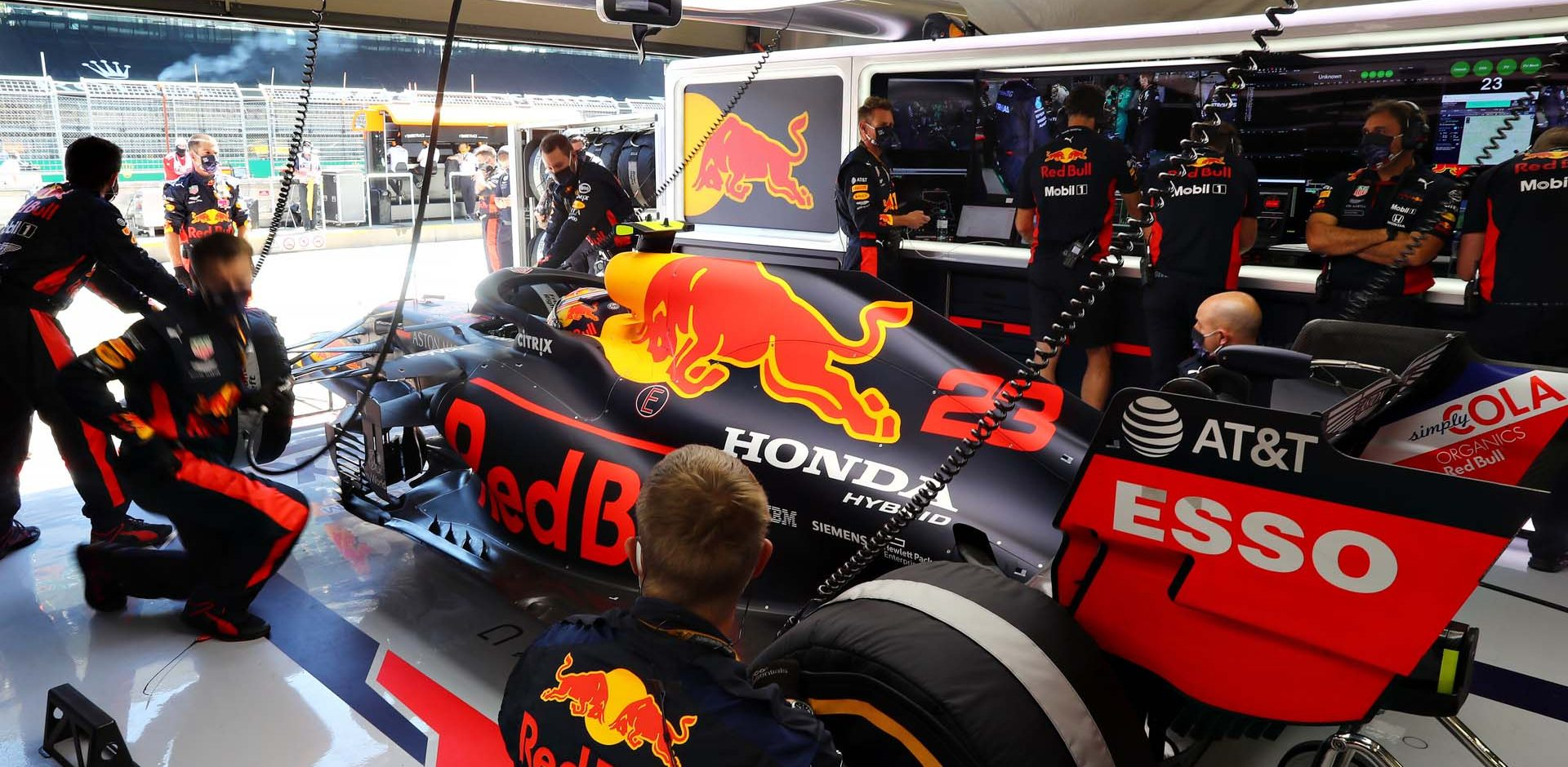 SPIELBERG, AUSTRIA - JULY 05: Alexander Albon of Thailand and Red Bull Racing prepares to drive in the garage before the Formula One Grand Prix of Austria at Red Bull Ring on July 05, 2020 in Spielberg, Austria. (Photo by Getty Images/Getty Images) // Getty Images / Red Bull Content Pool  // AP-24HRKEAZD2111 // Usage for editorial use only //