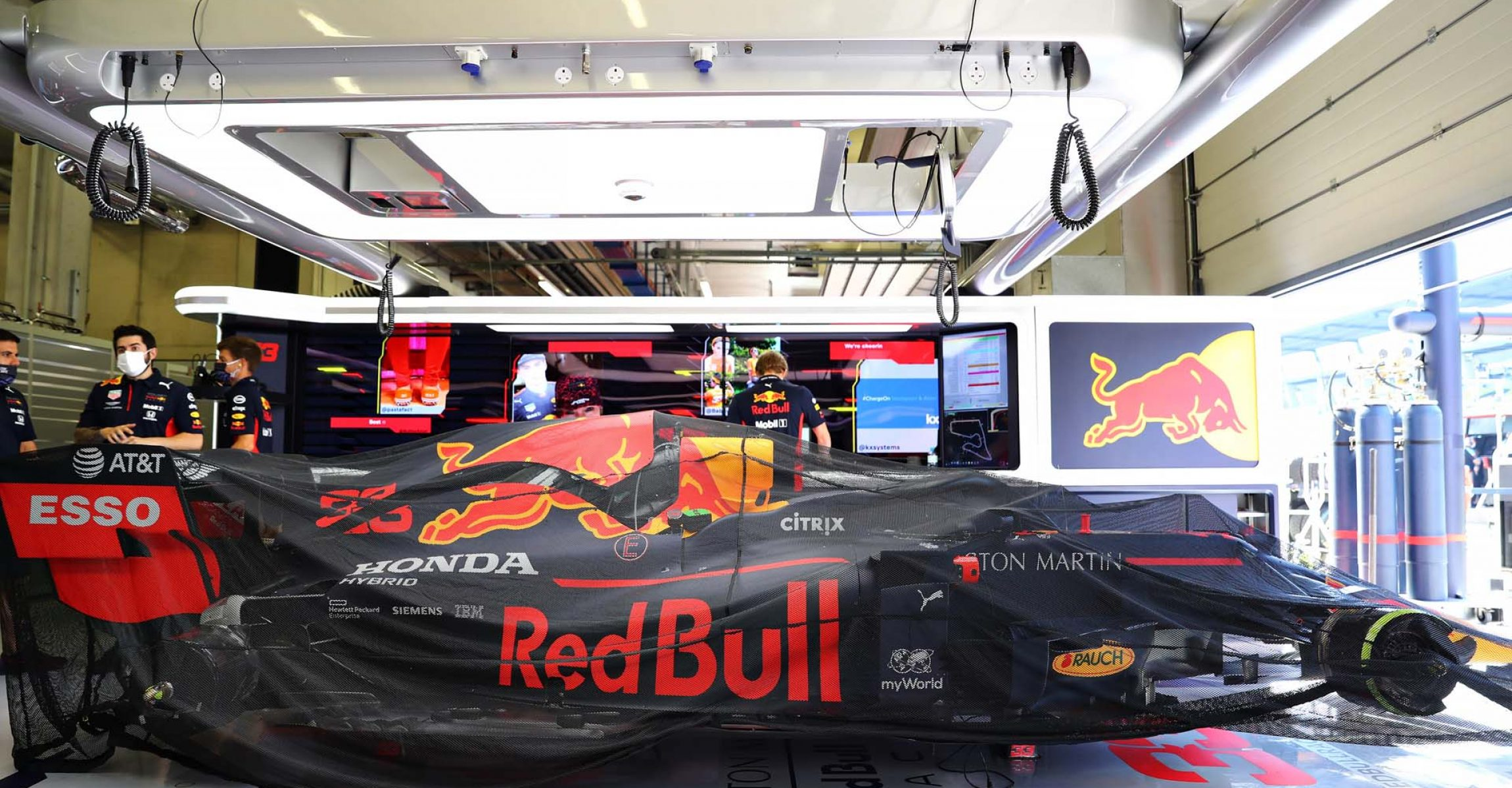 SPIELBERG, AUSTRIA - JULY 05: The car of Max Verstappen of Netherlands and Red Bull Racing is seen in the garage before the Formula One Grand Prix of Austria at Red Bull Ring on July 05, 2020 in Spielberg, Austria. (Photo by Getty Images/Getty Images) // Getty Images / Red Bull Content Pool // AP-24HRKFWRD2111 // Usage for editorial use only //