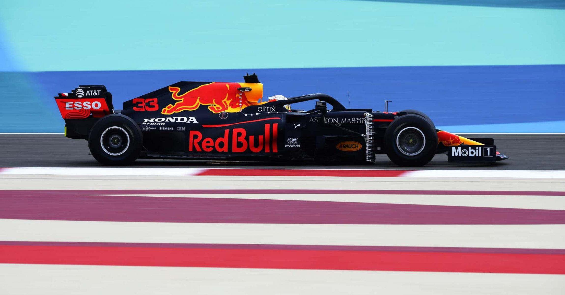 BAHRAIN, BAHRAIN - NOVEMBER 27: Max Verstappen of the Netherlands driving the (33) Aston Martin Red Bull Racing RB16 on track during practice ahead of the F1 Grand Prix of Bahrain at Bahrain International Circuit on November 27, 2020 in Bahrain, Bahrain. (Photo by Rudy Carezzevoli/Getty Images)
