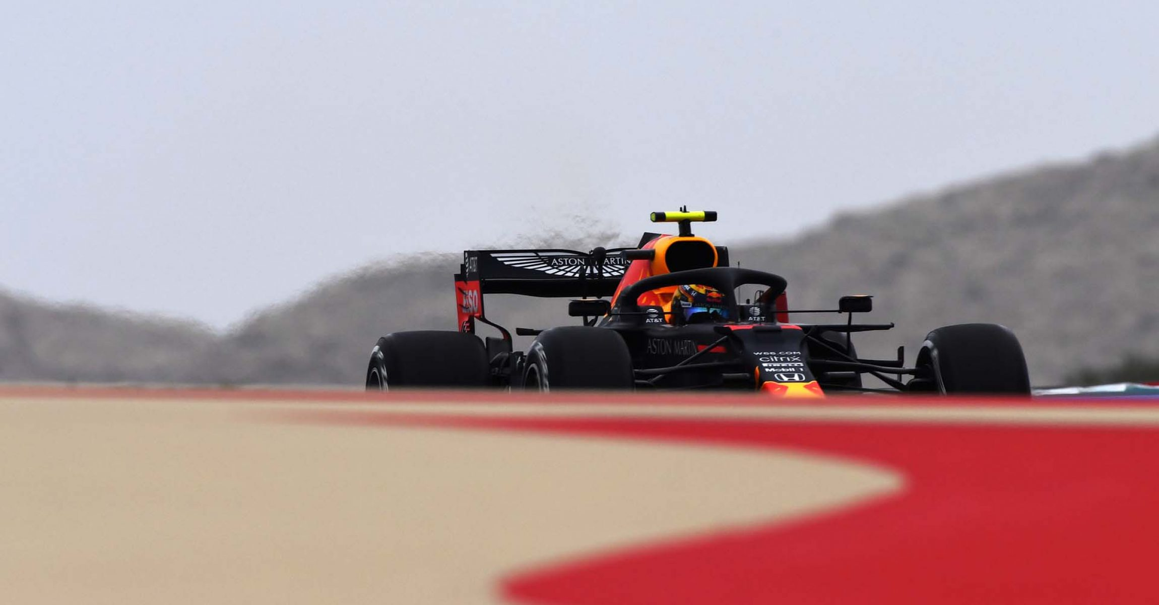 BAHRAIN, BAHRAIN - NOVEMBER 27: Alexander Albon of Thailand driving the (23) Aston Martin Red Bull Racing RB16 on track during practice ahead of the F1 Grand Prix of Bahrain at Bahrain International Circuit on November 27, 2020 in Bahrain, Bahrain. (Photo by Rudy Carezzevoli/Getty Images)