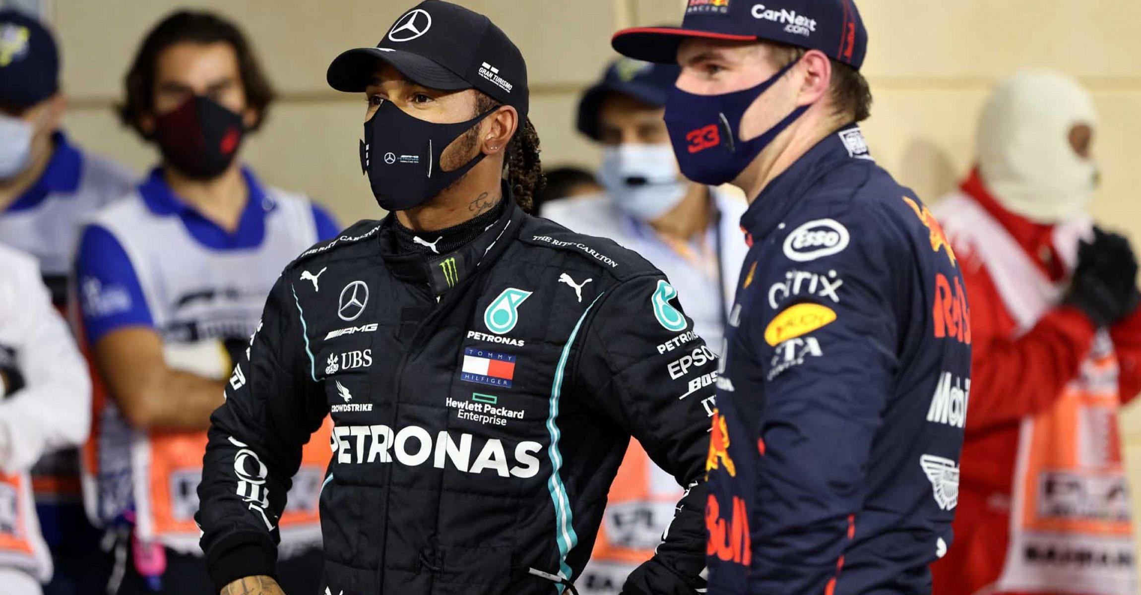 2020 Bahrain Grand Prix, Saturday - Steve Etherington Lewis Hamilton Mercedes Max Verstappen Red Bull