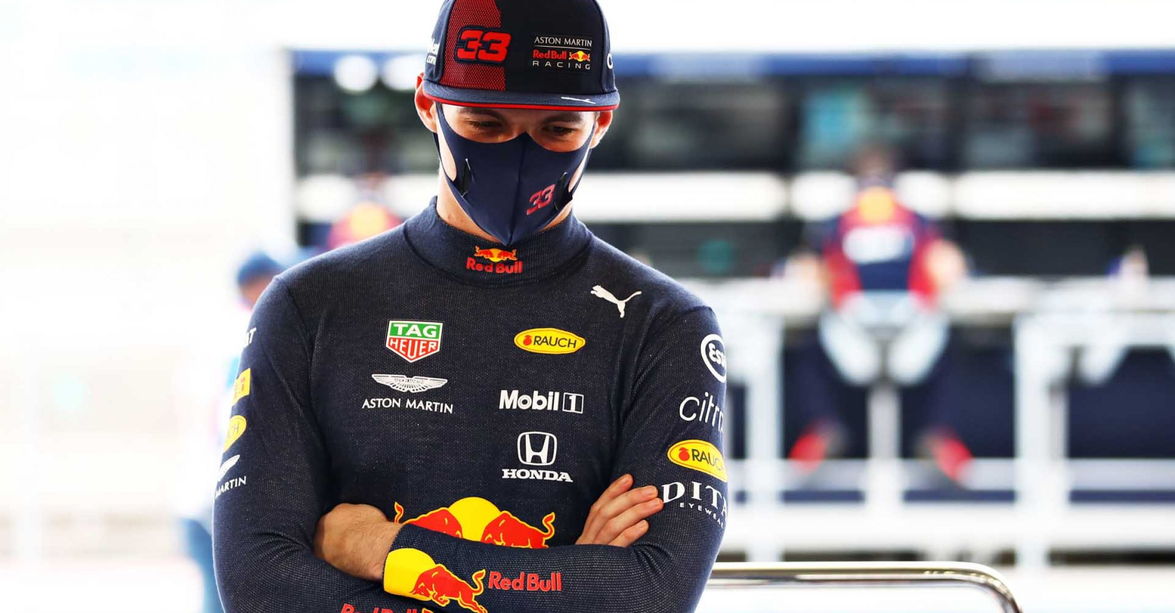 BAHRAIN, BAHRAIN - NOVEMBER 28: Max Verstappen of Netherlands and Red Bull Racing looks on in the garage during final practice ahead of the F1 Grand Prix of Bahrain at Bahrain International Circuit on November 28, 2020 in Bahrain, Bahrain. (Photo by Mark Thompson/Getty Images)