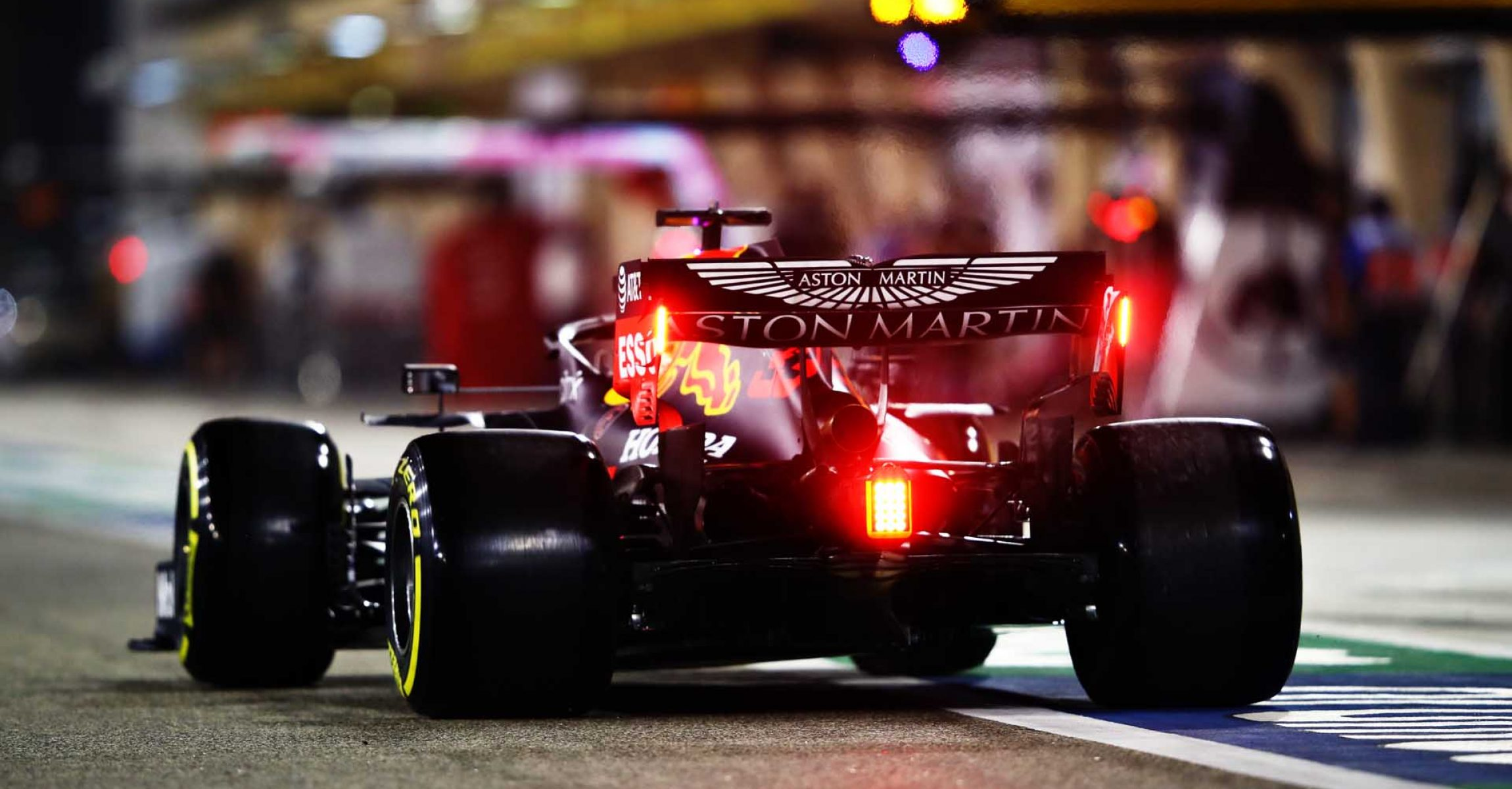 BAHRAIN, BAHRAIN - NOVEMBER 28: Max Verstappen of the Netherlands driving the (33) Aston Martin Red Bull Racing RB16 in the Pitlane during qualifying ahead of the F1 Grand Prix of Bahrain at Bahrain International Circuit on November 28, 2020 in Bahrain, Bahrain. (Photo by Mark Thompson/Getty Images)