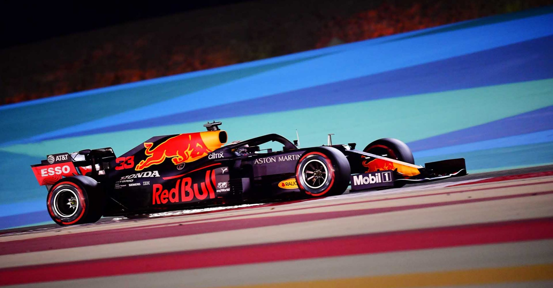BAHRAIN, BAHRAIN - NOVEMBER 28: Max Verstappen of the Netherlands driving the (33) Aston Martin Red Bull Racing RB16 on track during qualifying ahead of the F1 Grand Prix of Bahrain at Bahrain International Circuit on November 28, 2020 in Bahrain, Bahrain. (Photo by Giuseppe Cacace - Pool/Getty Images)