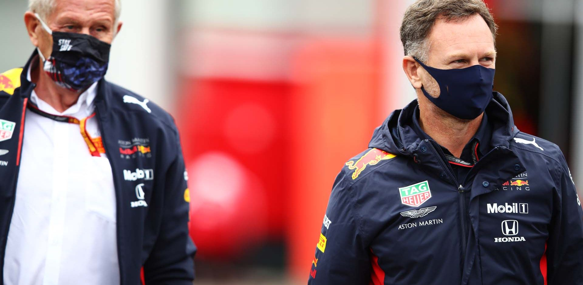 SPA, BELGIUM - AUGUST 28: Red Bull Racing Team Principal Christian Horner and Red Bull Racing Team Consultant Dr Helmut Marko arrive in the Paddock before practice for the F1 Grand Prix of Belgium at Circuit de Spa-Francorchamps on August 28, 2020 in Spa, Belgium. (Photo by Mark Thompson/Getty Images,)