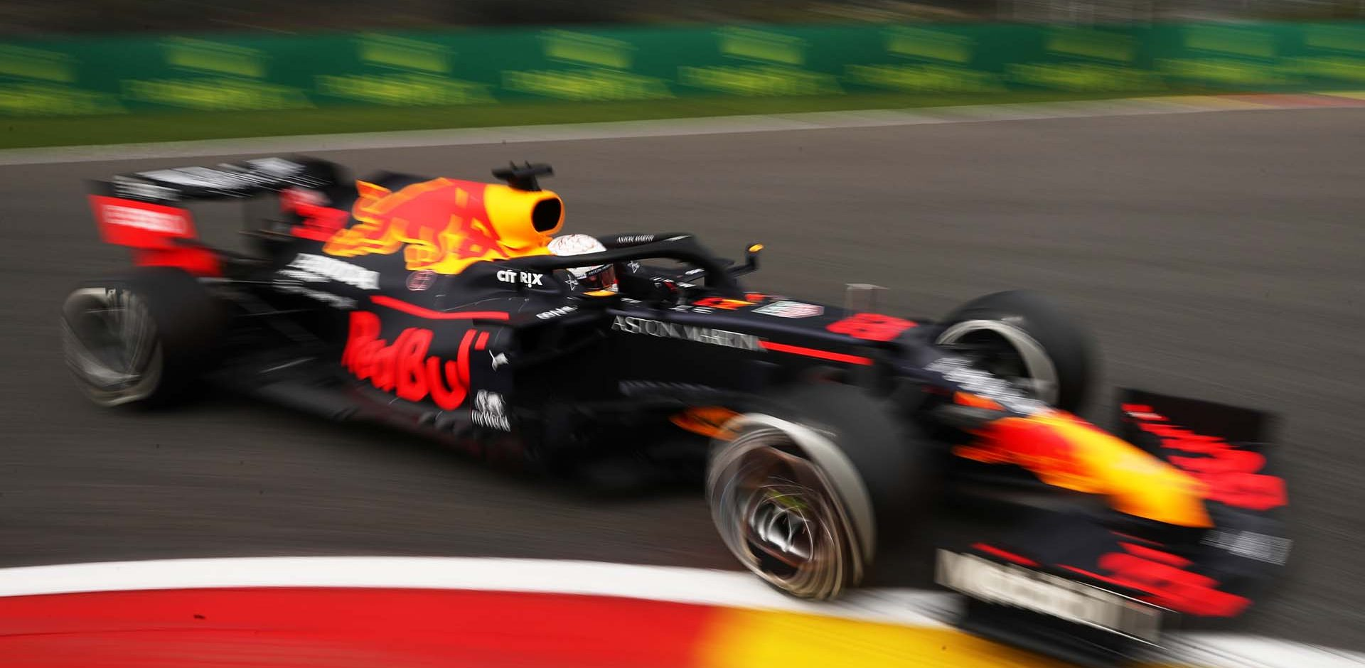 SPA, BELGIUM - AUGUST 28: Max Verstappen of the Netherlands driving the (33) Aston Martin Red Bull Racing RB16 on track during practice for the F1 Grand Prix of Belgium at Circuit de Spa-Francorchamps on August 28, 2020 in Spa, Belgium. (Photo by Francisco Seco/Pool via Getty Images)
