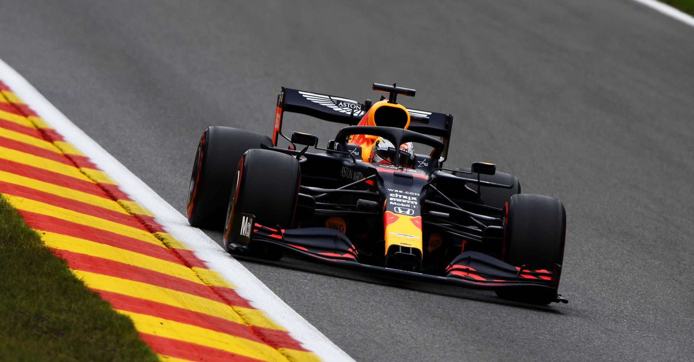 SPA, BELGIUM - AUGUST 28: Max Verstappen of the Netherlands driving the (33) Aston Martin Red Bull Racing RB16 drives during practice for the F1 Grand Prix of Belgium at Circuit de Spa-Francorchamps on August 28, 2020 in Spa, Belgium. (Photo by Rudy Carezzevoli/Getty Images)