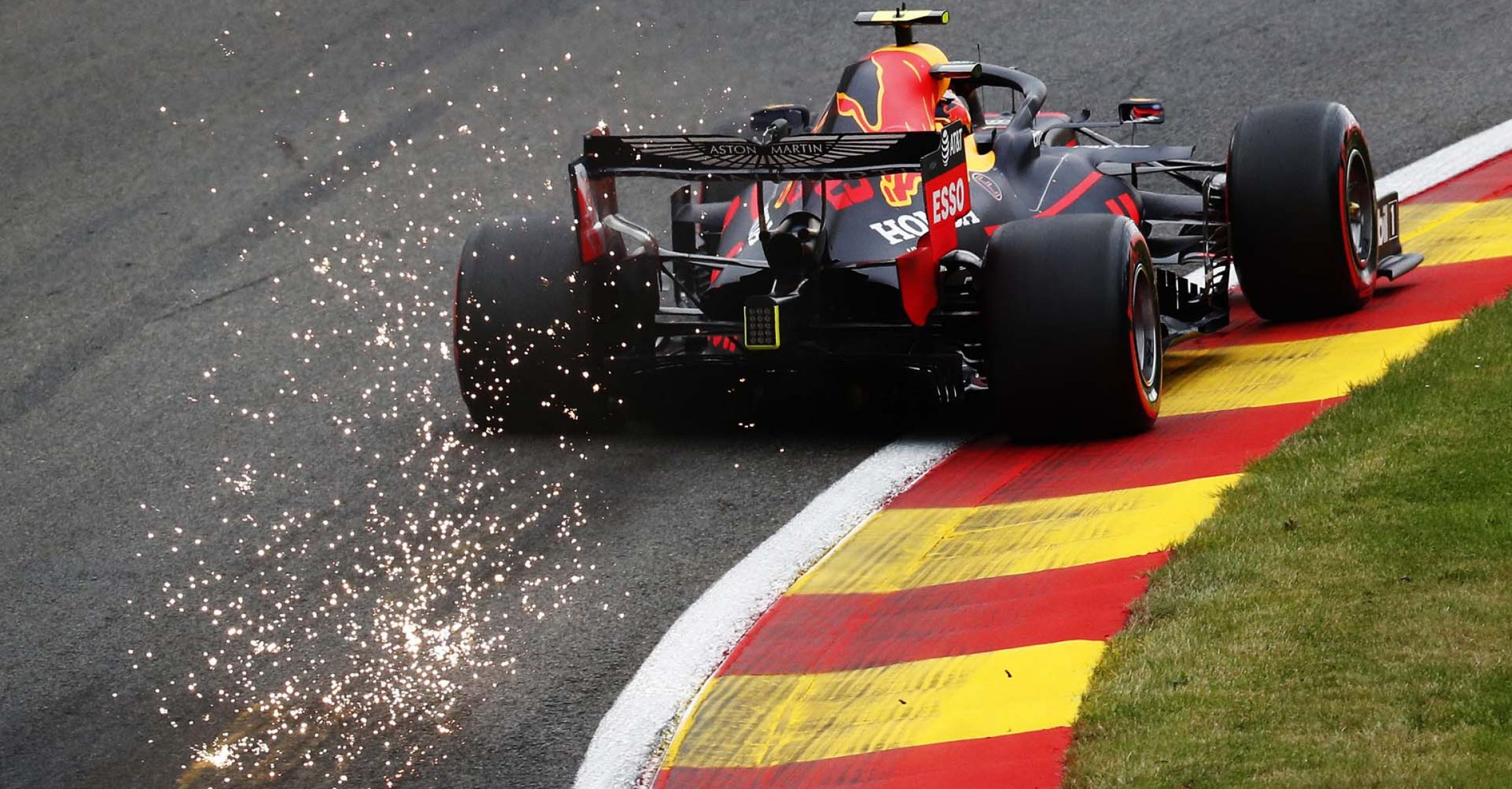 SPA, BELGIUM - AUGUST 28: Alexander Albon of Thailand driving the (23) Aston Martin Red Bull Racing RB16 on track during practice for the F1 Grand Prix of Belgium at Circuit de Spa-Francorchamps on August 28, 2020 in Spa, Belgium. (Photo by Francois Lenoir/Pool via Getty Images)