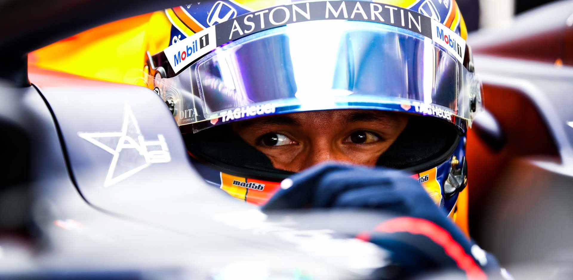 SPA, BELGIUM - AUGUST 28: Alexander Albon of Thailand and Red Bull Racing sits in his car in the garage during practice for the F1 Grand Prix of Belgium at Circuit de Spa-Francorchamps on August 28, 2020 in Spa, Belgium. (Photo by Mark Thompson/Getty Images,)