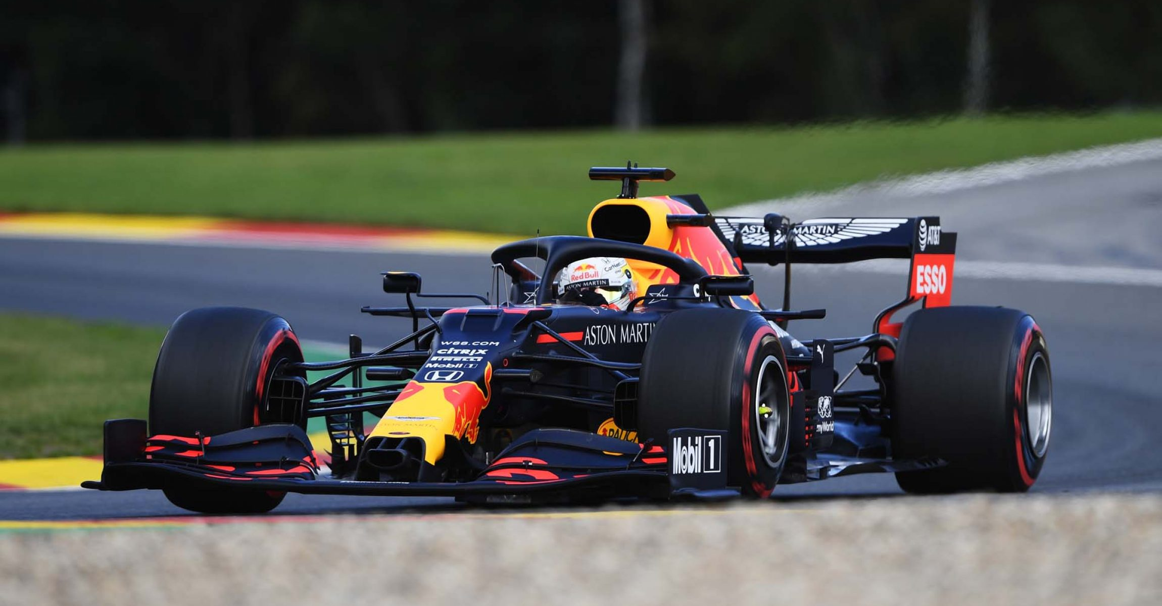 SPA, BELGIUM - AUGUST 29: Max Verstappen of the Netherlands driving the (33) Aston Martin Red Bull Racing RB16 drives during final practice for the F1 Grand Prix of Belgium at Circuit de Spa-Francorchamps on August 29, 2020 in Spa, Belgium. (Photo by Rudy Carezzevoli/Getty Images)