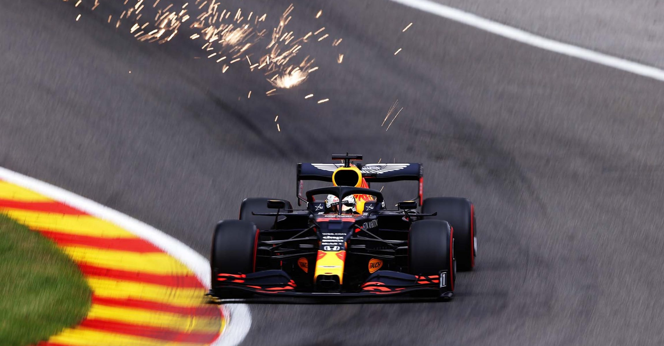 SPA, BELGIUM - AUGUST 29: Max Verstappen of the Netherlands driving the (33) Aston Martin Red Bull Racing RB16 on track during qualifying for the F1 Grand Prix of Belgium at Circuit de Spa-Francorchamps on August 29, 2020 in Spa, Belgium. (Photo by Lars Baron/Getty Images)