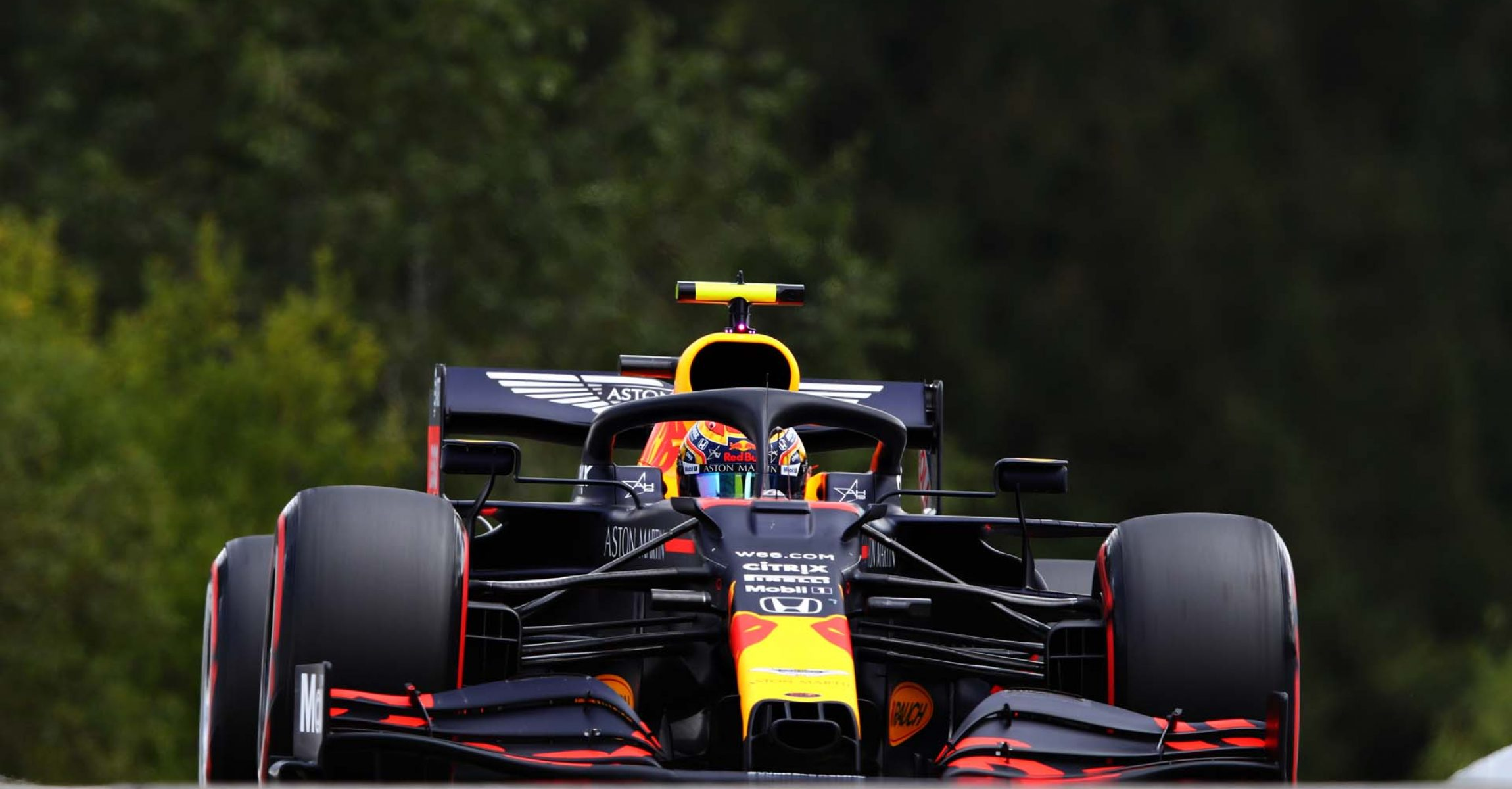 SPA, BELGIUM - AUGUST 29: Alexander Albon of Thailand driving the (23) Aston Martin Red Bull Racing RB16 drives on track during qualifying for the F1 Grand Prix of Belgium at Circuit de Spa-Francorchamps on August 29, 2020 in Spa, Belgium. (Photo by Mark Thompson/Getty Images)