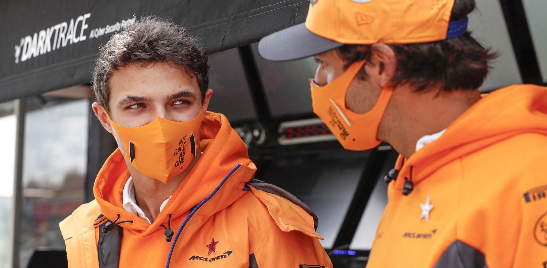 Lando Norris, McLaren, and Carlos Sainz, McLaren