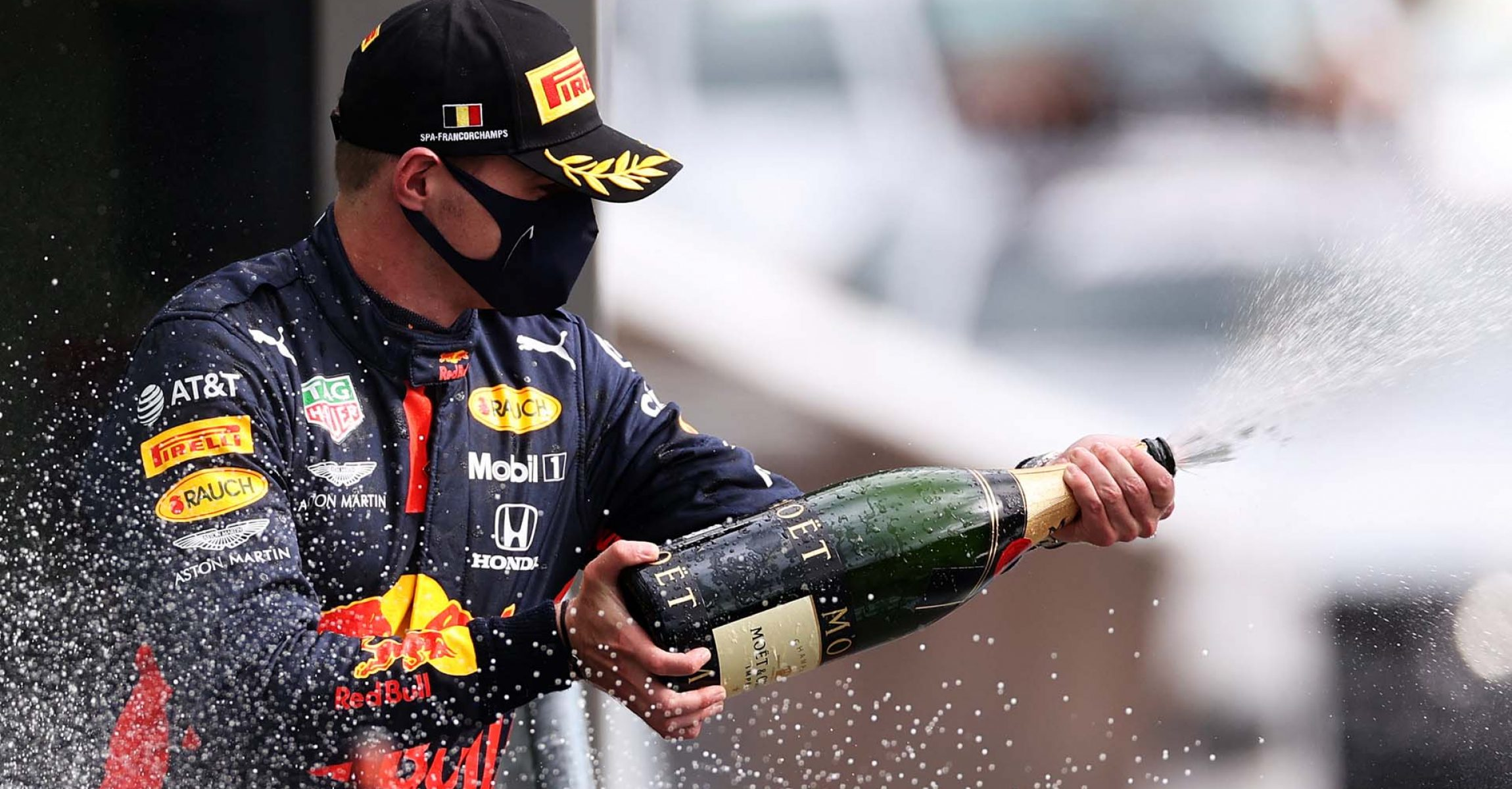 SPA, BELGIUM - AUGUST 30: Third placed Max Verstappen of Netherlands and Red Bull Racing celebrates on the podium during the F1 Grand Prix of Belgium at Circuit de Spa-Francorchamps on August 30, 2020 in Spa, Belgium. (Photo by Lars Baron/Getty Images)