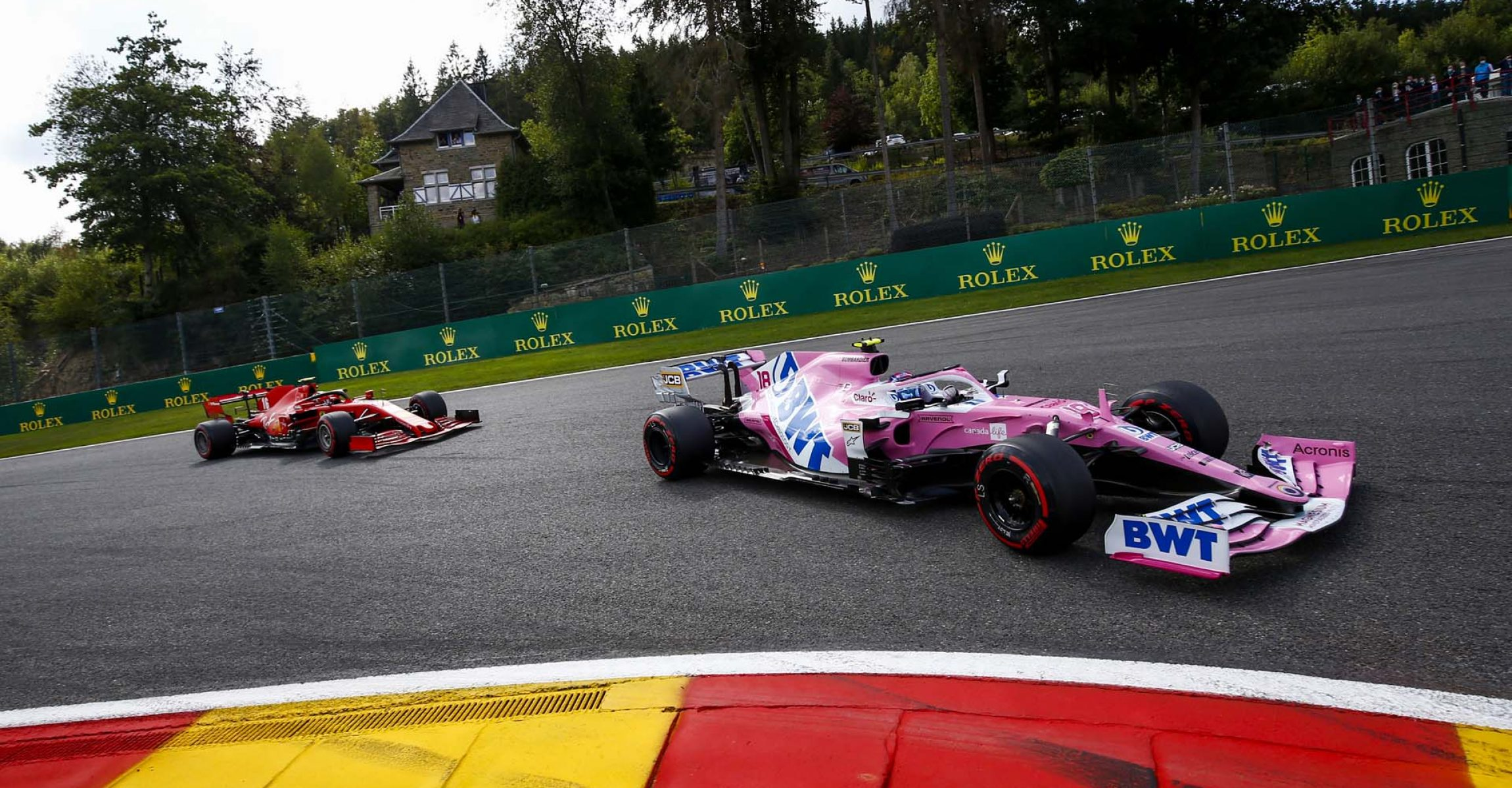Lance Stroll, Racing Point RP20, leads Charles Leclerc, Ferrari SF1000