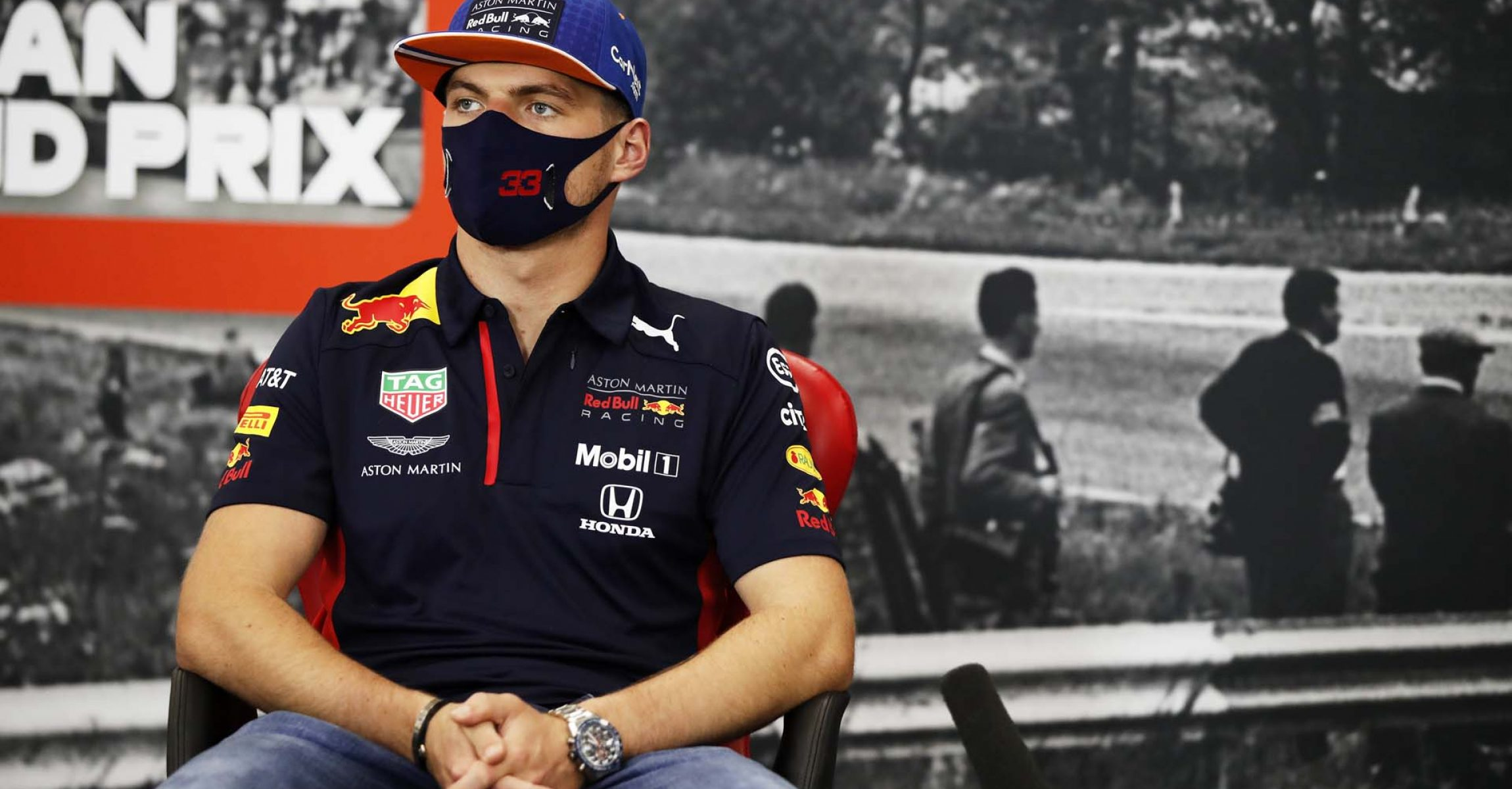 SPA, BELGIUM - AUGUST 27: Max Verstappen of Netherlands and Red Bull Racing talks in the Drivers Press Conference during previews ahead of the F1 Grand Prix of Belgium at Circuit de Spa-Francorchamps on August 27, 2020 in Spa, Belgium. (Photo by DPPI/Pool via Getty Images) // Getty Images / Red Bull Content Pool  // SI202008270280 // Usage for editorial use only //