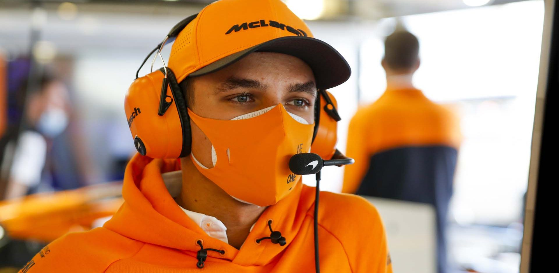 Lando Norris, McLaren in the garage